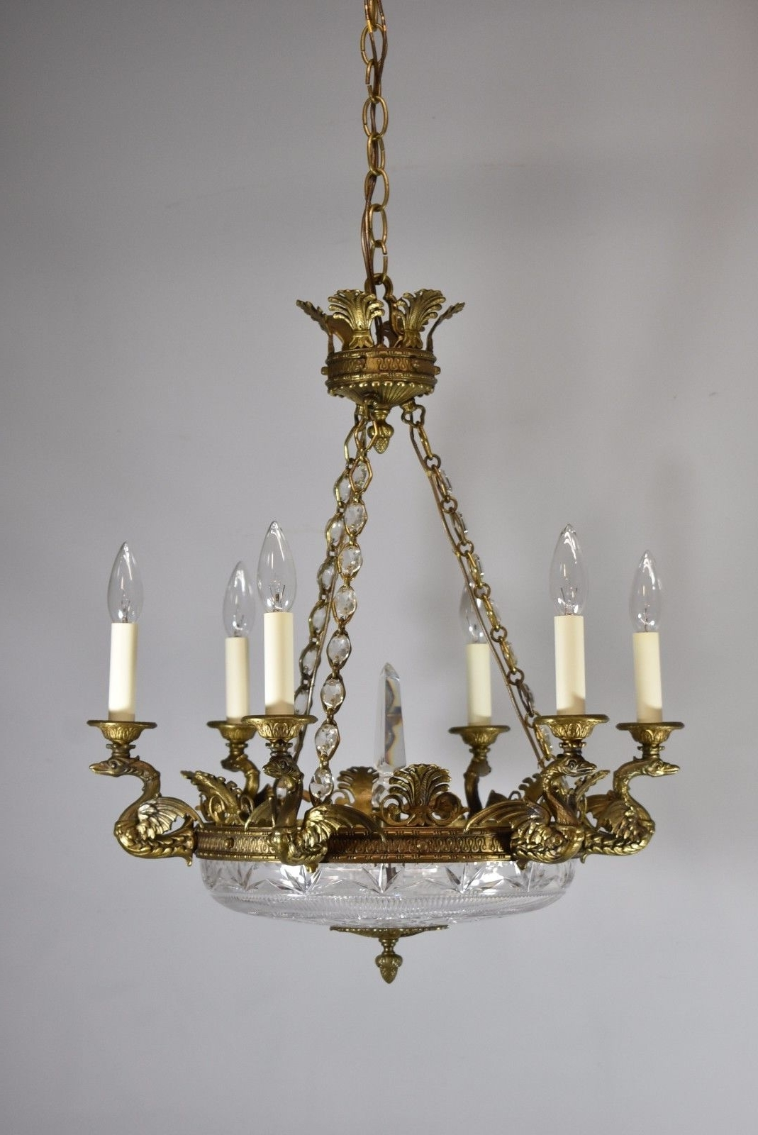 Most Popular French Glass Chandelier Pertaining To Antique Bronze French Empire Six Arm Chandelier With Dragons And Cut (View 15 of 20)