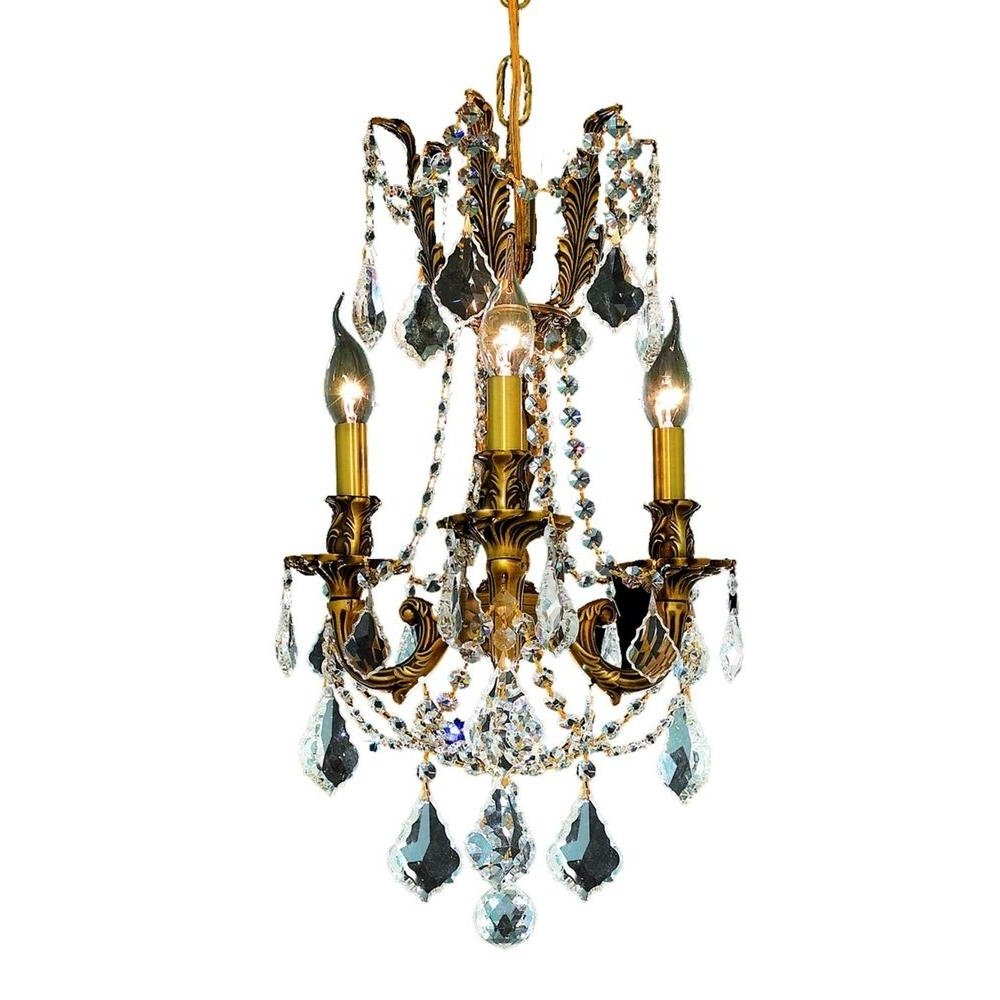 Most Popular Gold – Crystal – Chandeliers – Lighting – The Home Depot For Crystal Gold Chandeliers (View 11 of 20)