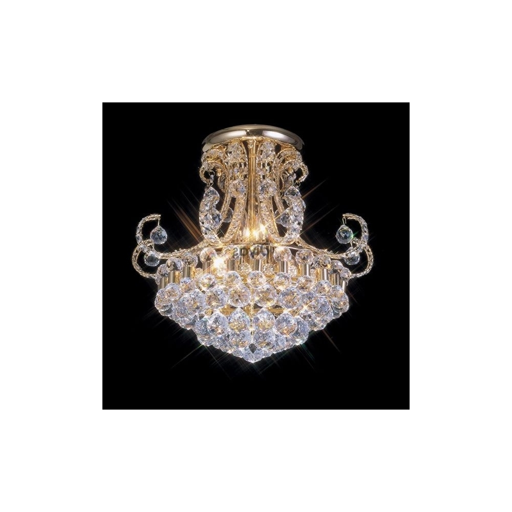 Most Popular Gold Plated Asfour Crystal Chandelier Light Fitting For Low Ceilings Regarding Chandelier For Low Ceiling (View 19 of 20)