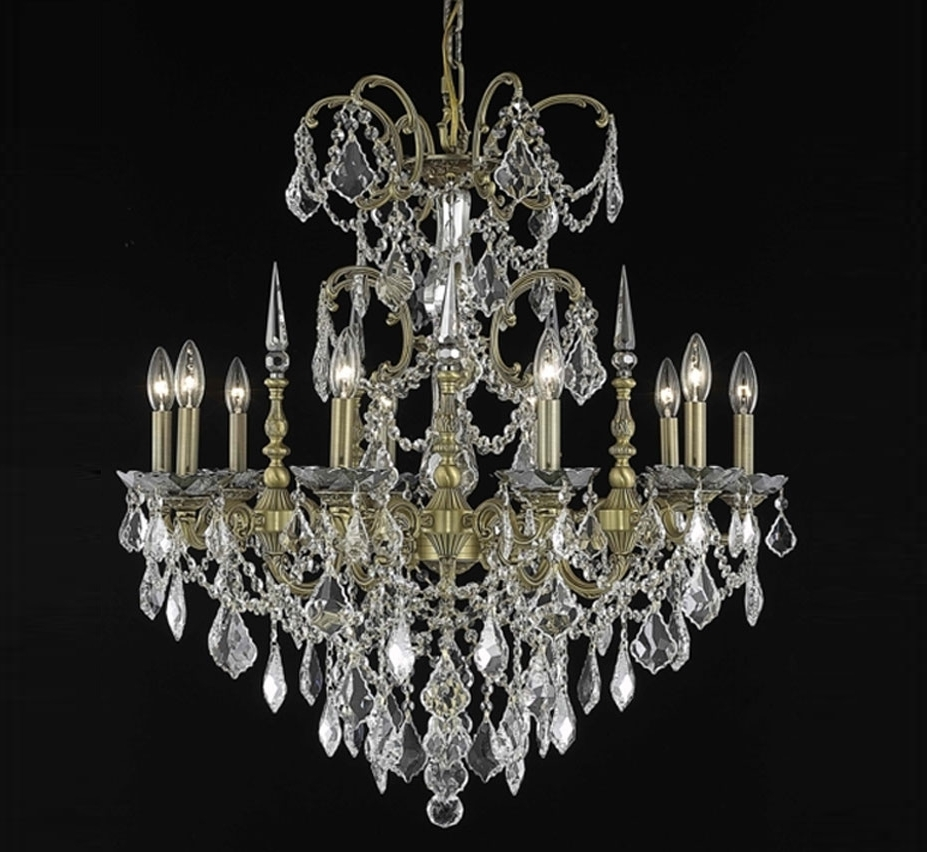 Most Popular Large Crystal Chandeliers Within Athena Collection 10 Light Large Crystal Chandelier (View 16 of 20)