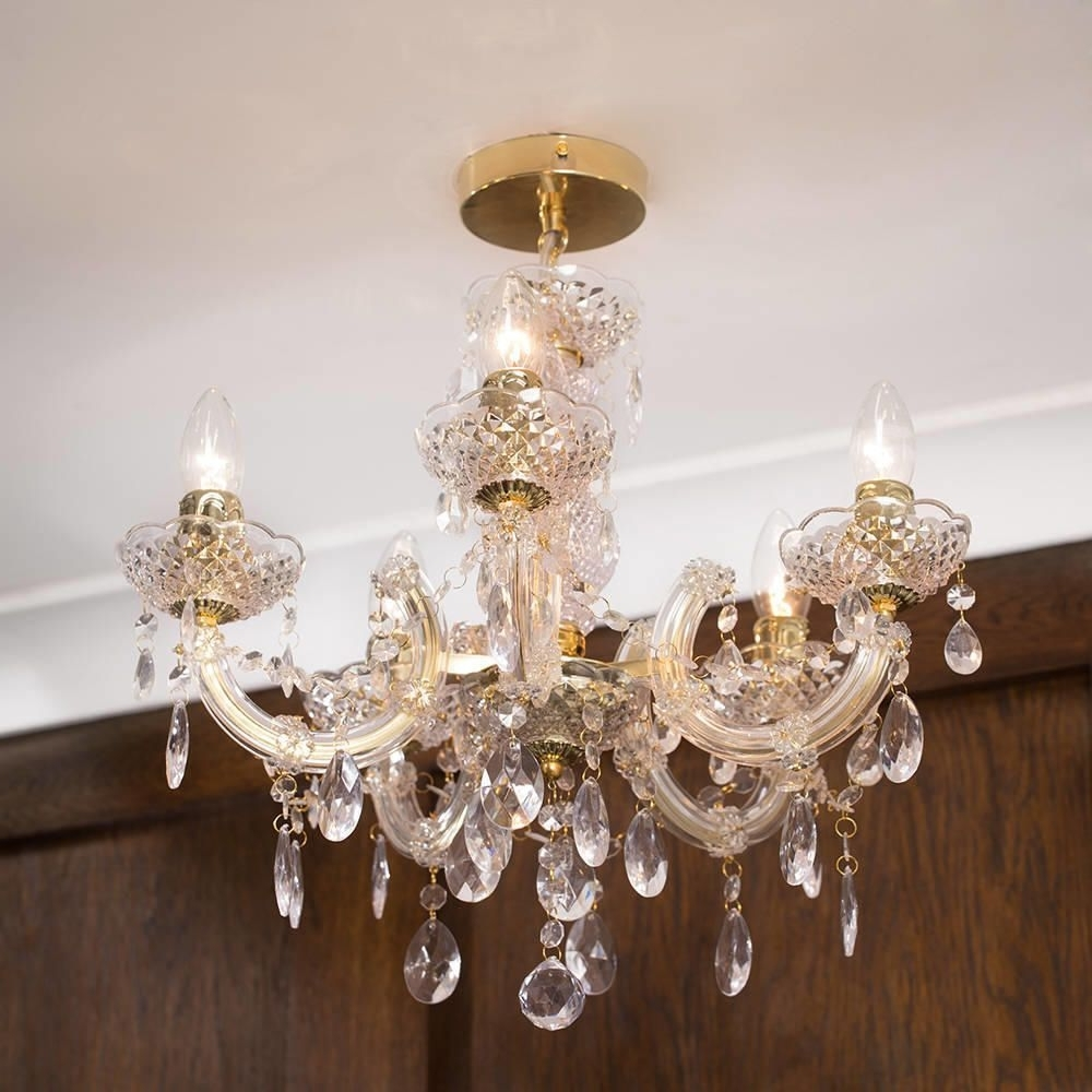Most Popular Marie Therese 5 Light Dual Mount Chandelier – Gold From Litecraft For Short Chandelier (View 3 of 20)
