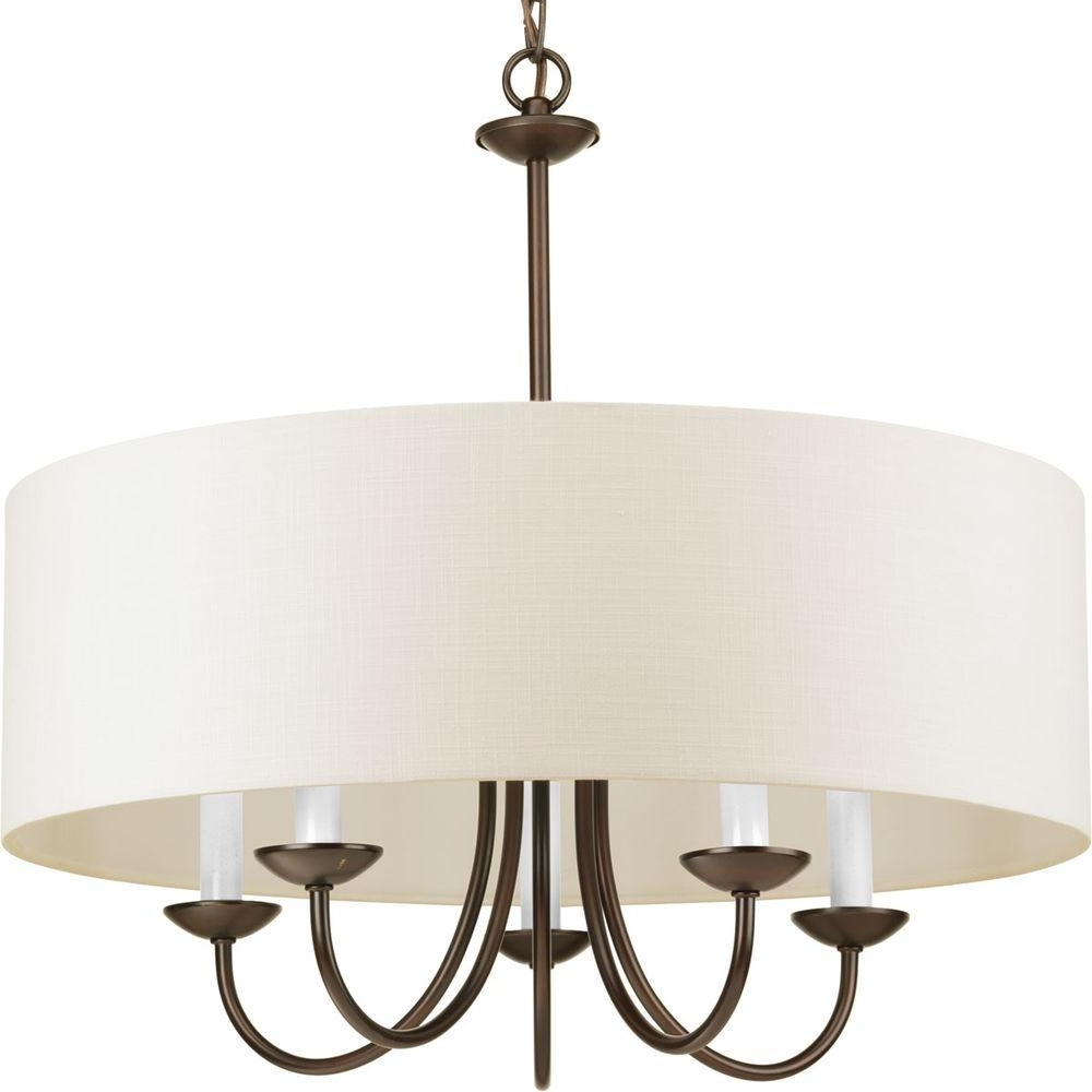 Most Popular Progress Lighting 5 Light Antique Bronze Chandelier With Beige Linen Intended For Linen Chandeliers (View 12 of 20)