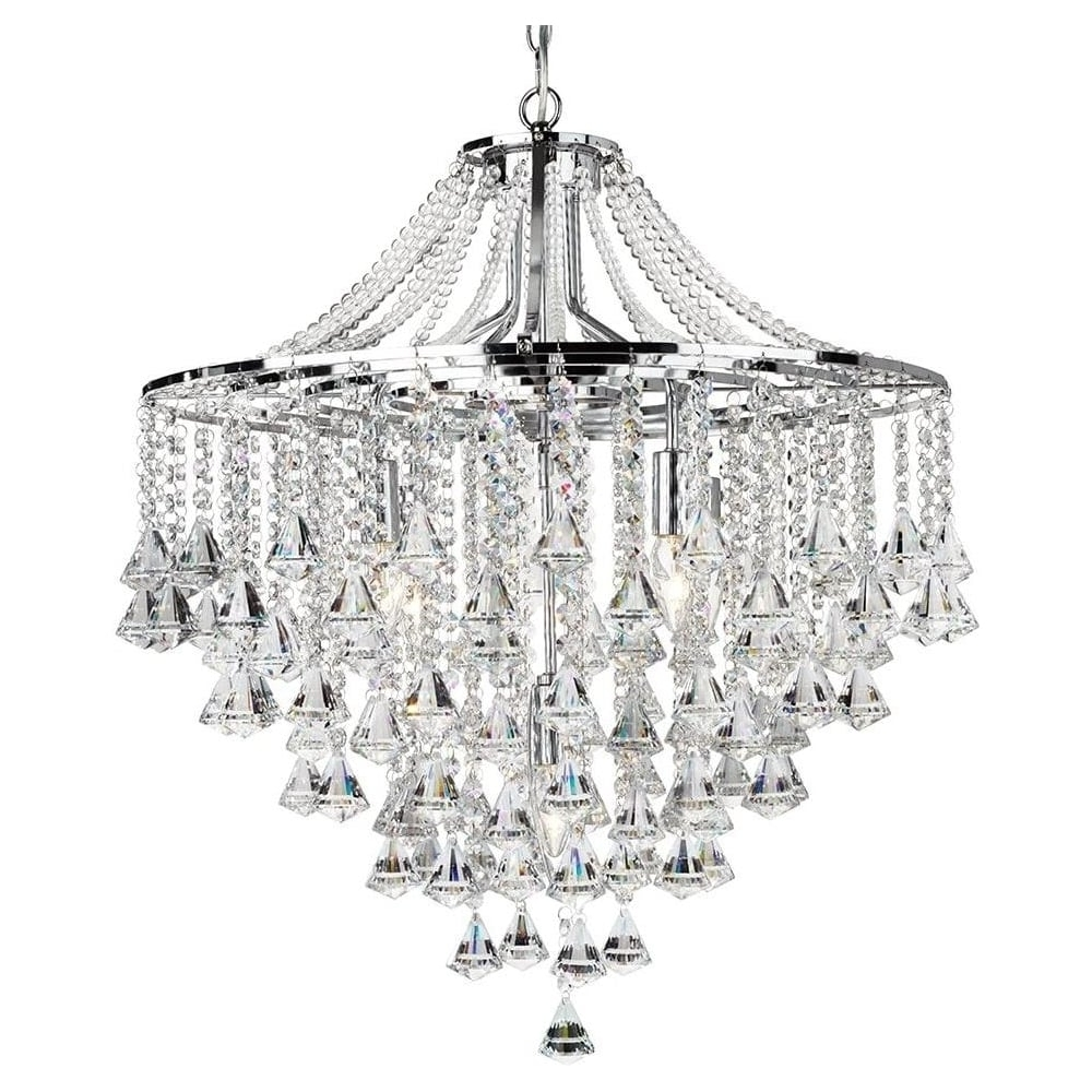 Most Popular Searchlight 3495 5Cc Dorchester 5 Light Crystal Chandelier Intended For Chrome And Crystal Chandelier (View 12 of 20)