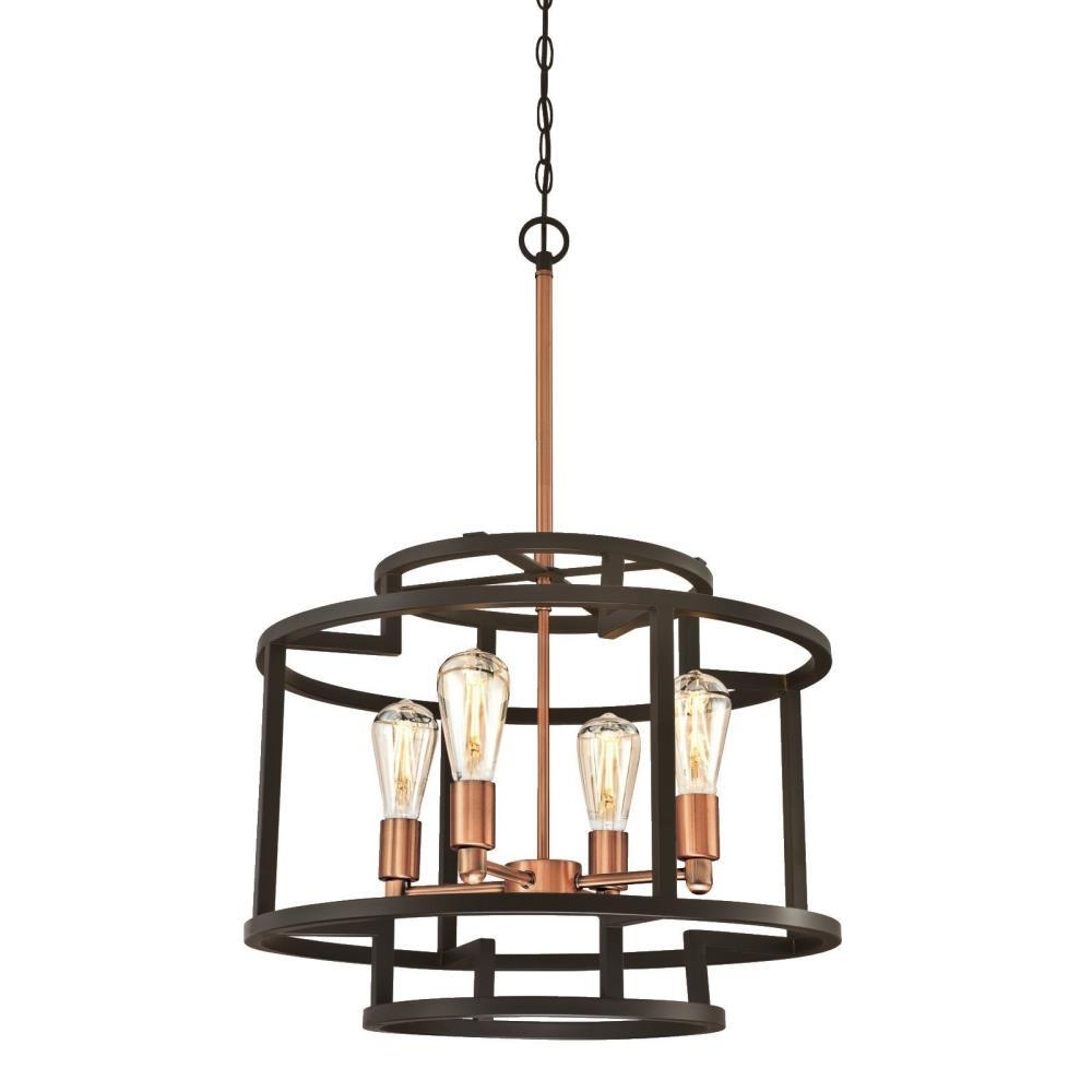 Most Popular Westinghouse Weston 4 Light Oil Rubbed Bronze And Washed Copper Throughout Copper Chandeliers (View 13 of 20)