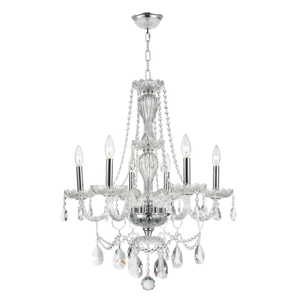 Most Popular Worldwide Lighting Provence Collection 6 Light Polished Chrome And Throughout Crystal Chandeliers (View 11 of 20)