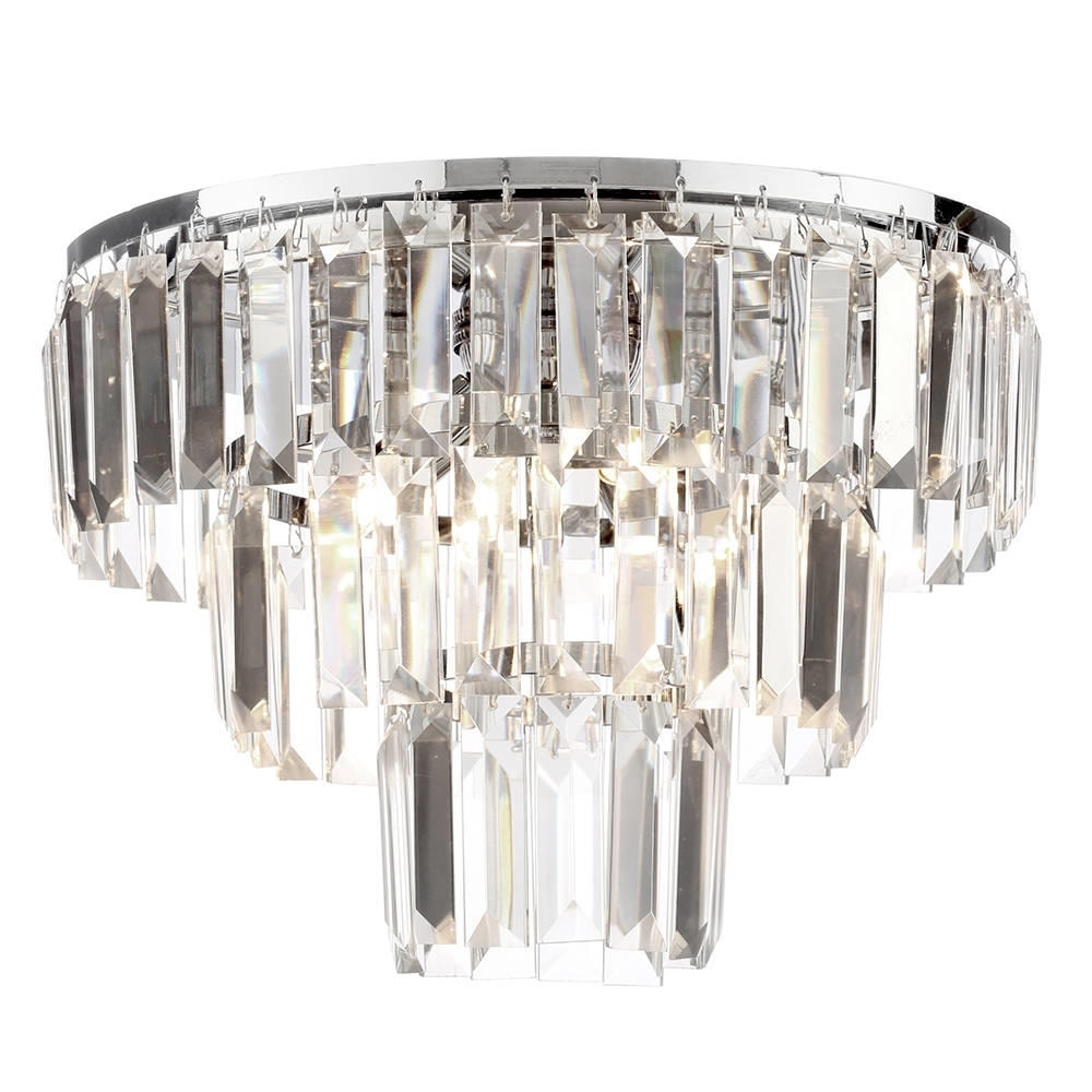 Most Recent 3 Tier Crystal Chandelier With Prism 3 Tier 3 Light Crystal Flush Ceiling Light – Chrome & Glass (View 13 of 20)