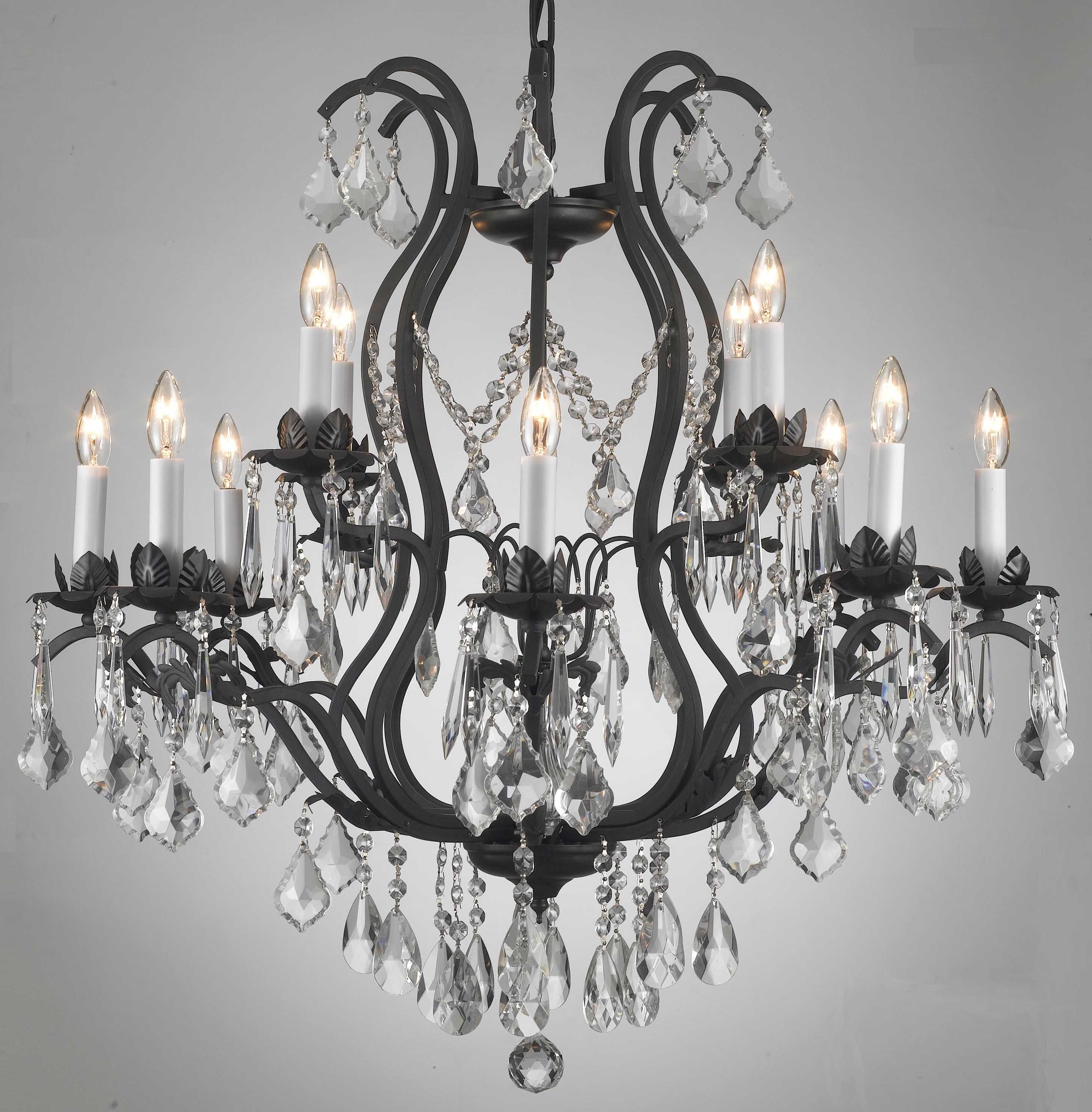 Most Recent A83 3034/8+4 Wrought Iron Chandelier Chandeliers, Crystal Chandelier Throughout Black Iron Chandeliers (View 13 of 20)