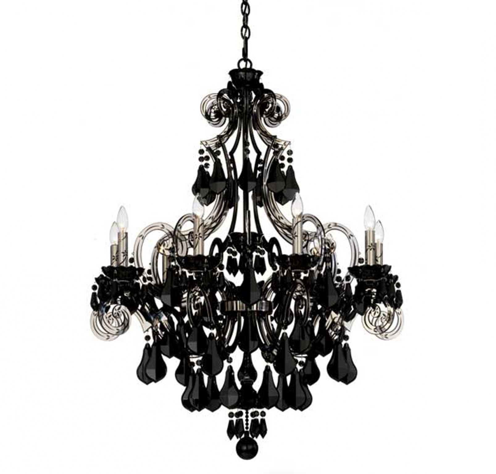 Most Recent Black Chandeliers For Photos: Schonbek Cappela 9 Light Black Chandelier In Chandeliers (View 20 of 20)