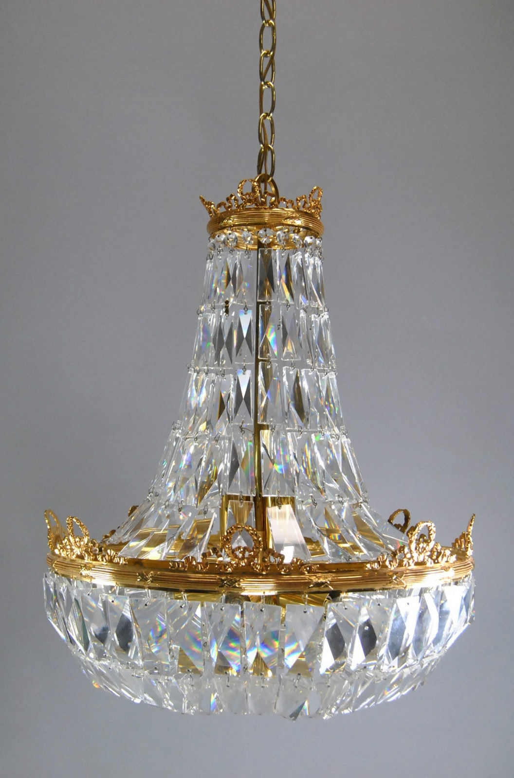 Most Recent Brass And Crystal Chandelier Throughout French Basket Form Crystal Chandelier With Brass Frame (View 12 of 20)