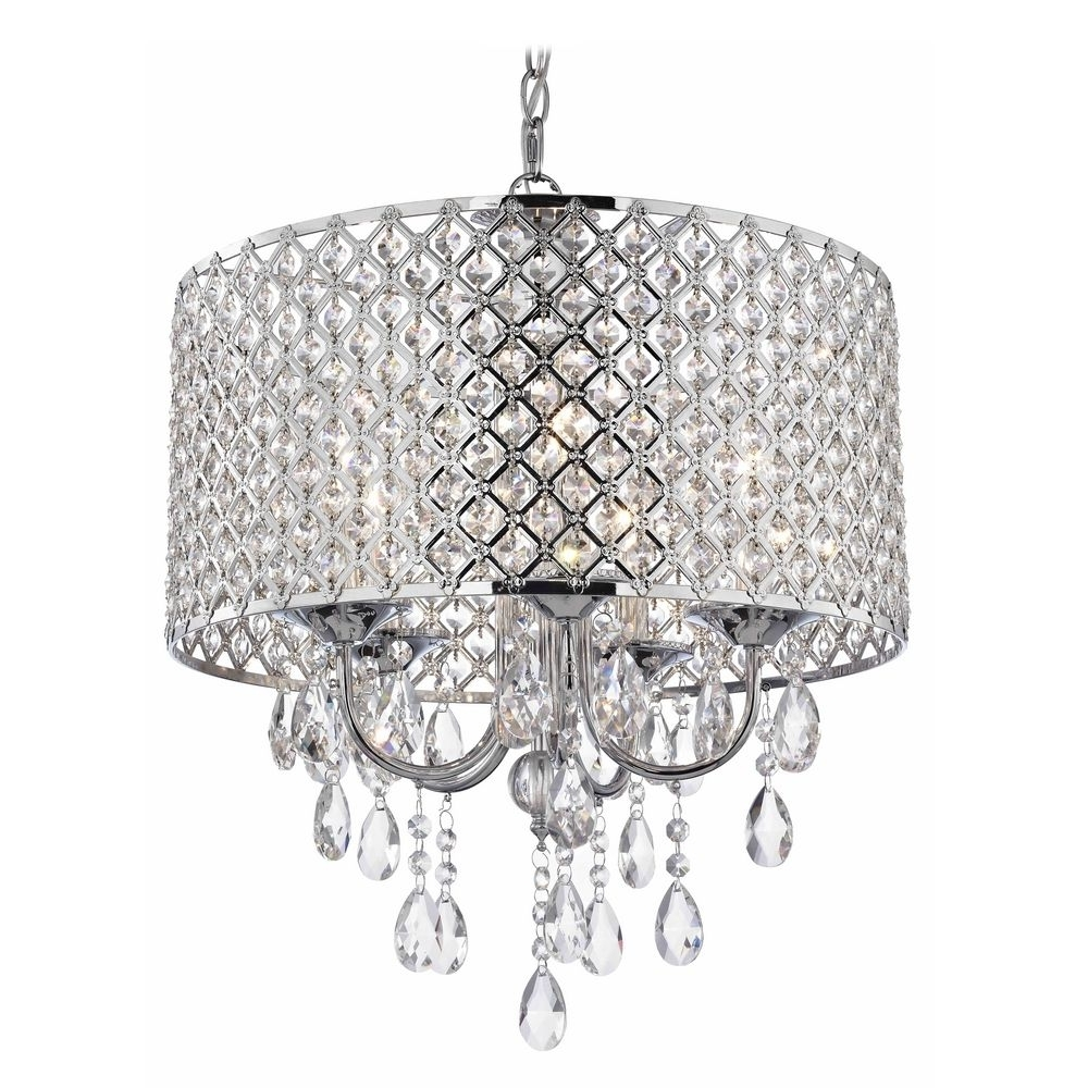 Most Recent Chrome And Crystal Chandeliers Regarding Crystal Chrome Chandelier Pendant Light With Crystal Beaded Drum (View 3 of 20)