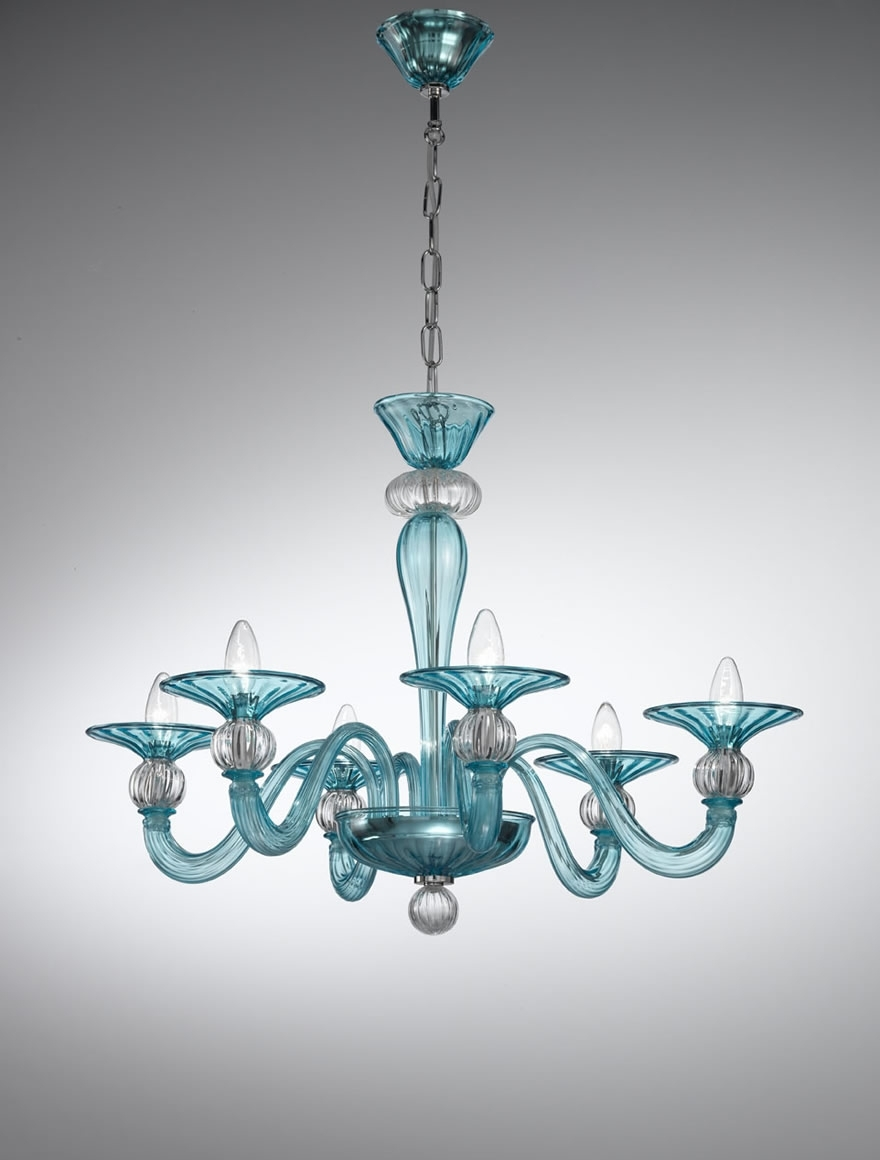 Most Recent Coloured Glass Chandelier With Murano Coloured Glass Chandelier – 1154 – Vetrilamp Murano (View 4 of 20)