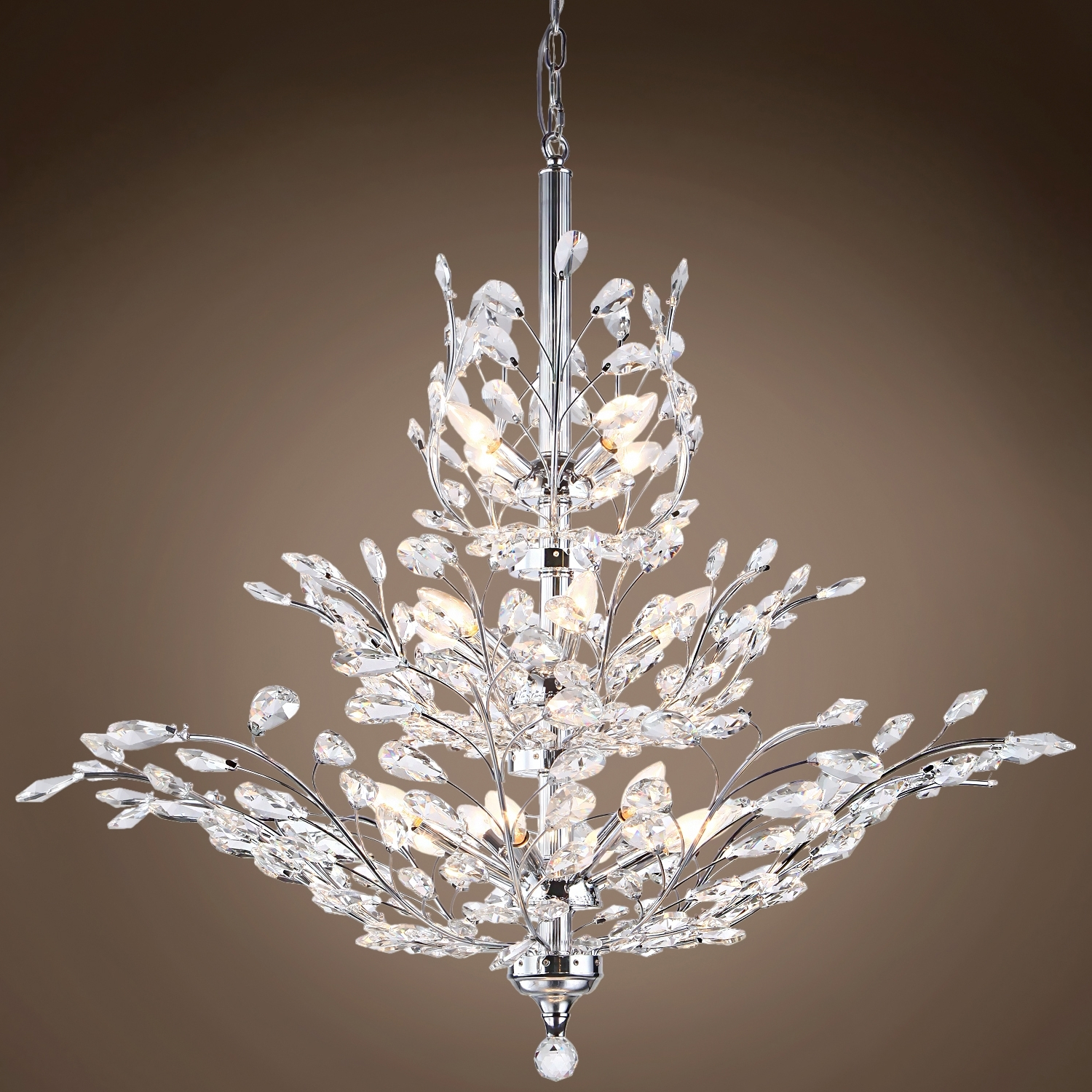 Most Recent Crystal Branch Chandelier With Regard To Joshua Marshal 700109 Branch Of Light 13 Light Chrome Chandelier (View 3 of 20)