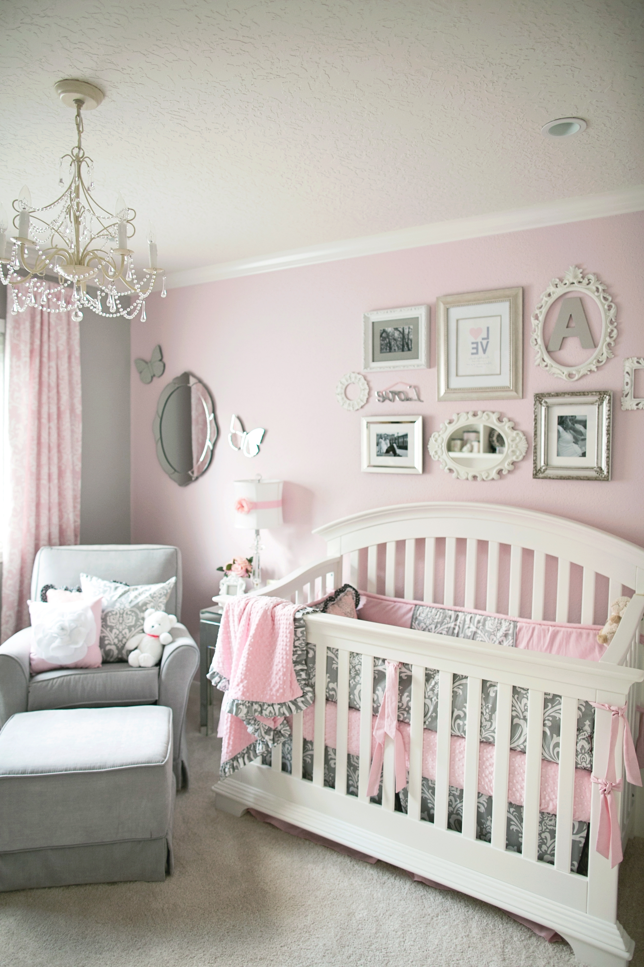 Most Recent Crystal Chandeliers For Baby Girl Room With Regard To Contemporary Baby Girl Room Decor Chevron Pattern Curtain Ideas Full (View 15 of 20)