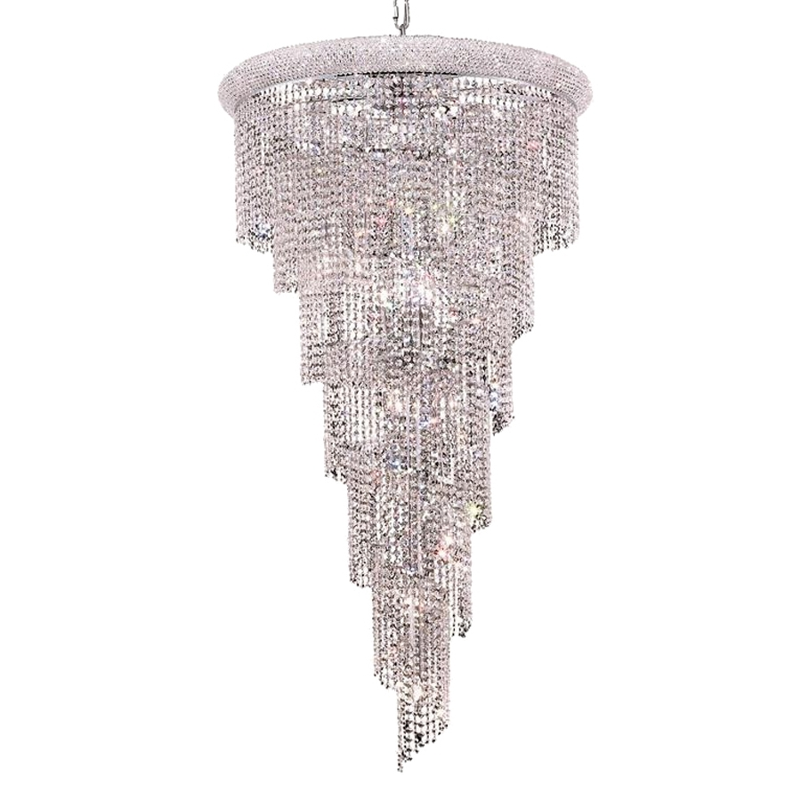 Most Recent Crystal Waterfall Chandelier Inside Shop Elegant Lighting Spiral 30 In 22 Light Chrome Crystal Crystal (View 4 of 20)