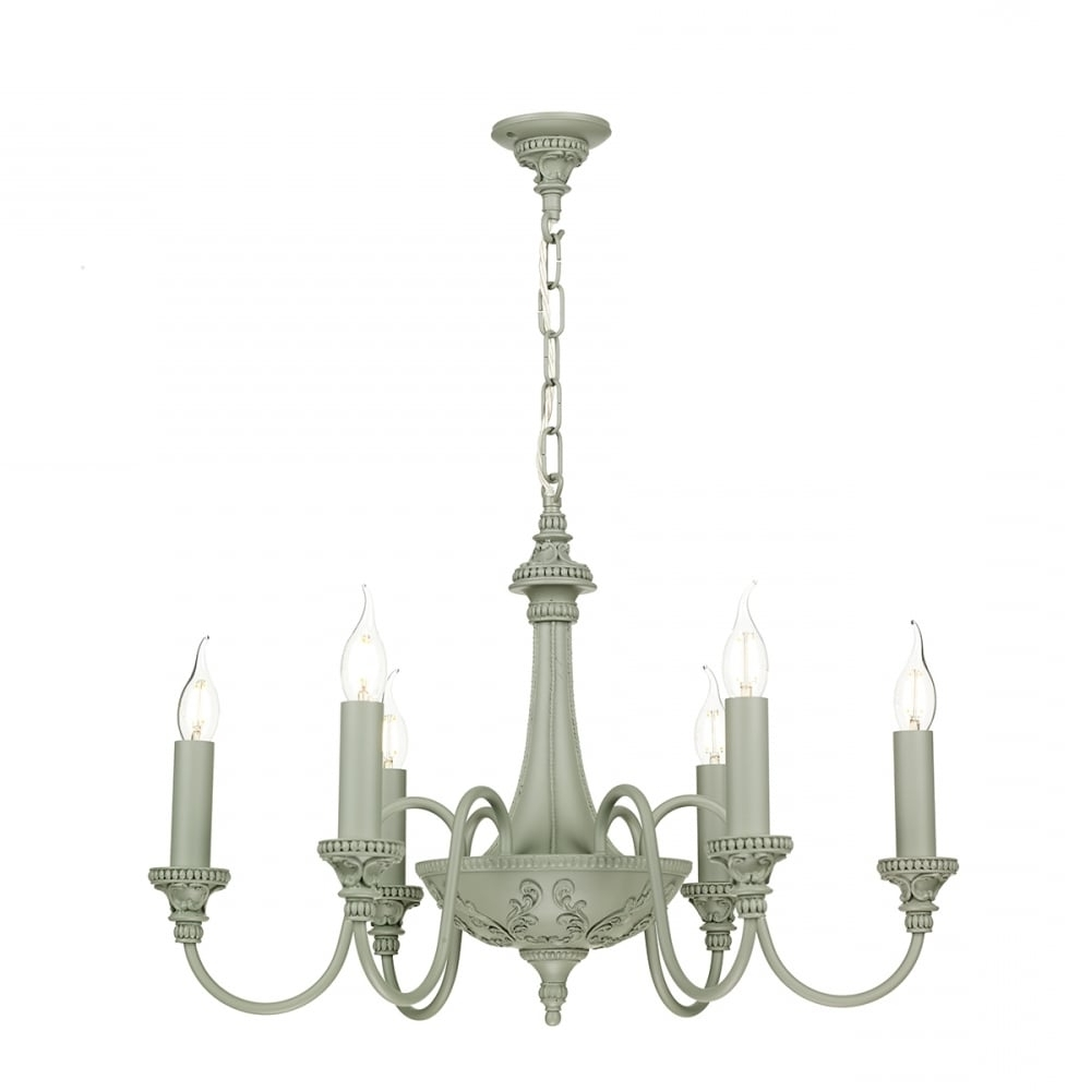 Most Recent Edwardian Chandelier Within Edwardian Style Grey Painted Chandelier With 6 Candle Lights (View 5 of 20)
