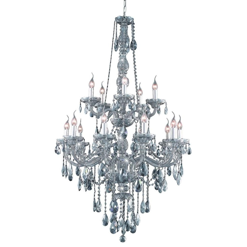 Most Recent Grey Crystal Chandelier With Elegant Lighting 15 Light Silver Shade Chandelier With Grey Crystal (View 15 of 20)