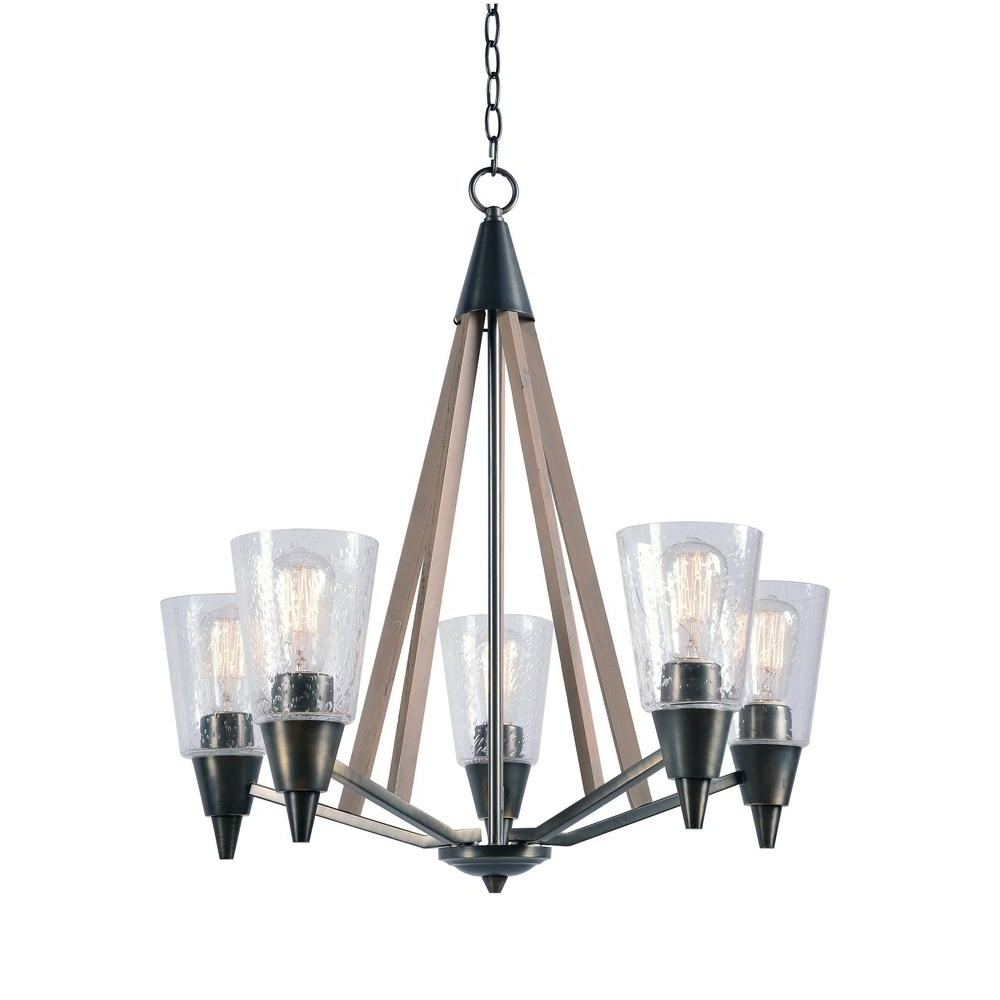 Most Recent Metal Chandeliers Intended For Kenroy Home Peak 5 Light Metal Chandelier With Clear Glass Shade (View 15 of 20)