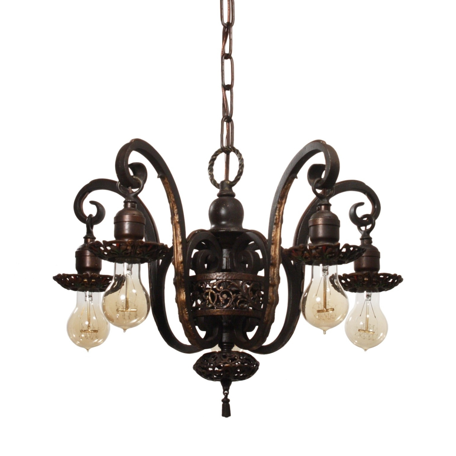 Most Recent Spanish Revival Chandelier In Cast Iron, Antique Lighting With Cast Iron Antique Chandelier (View 13 of 20)