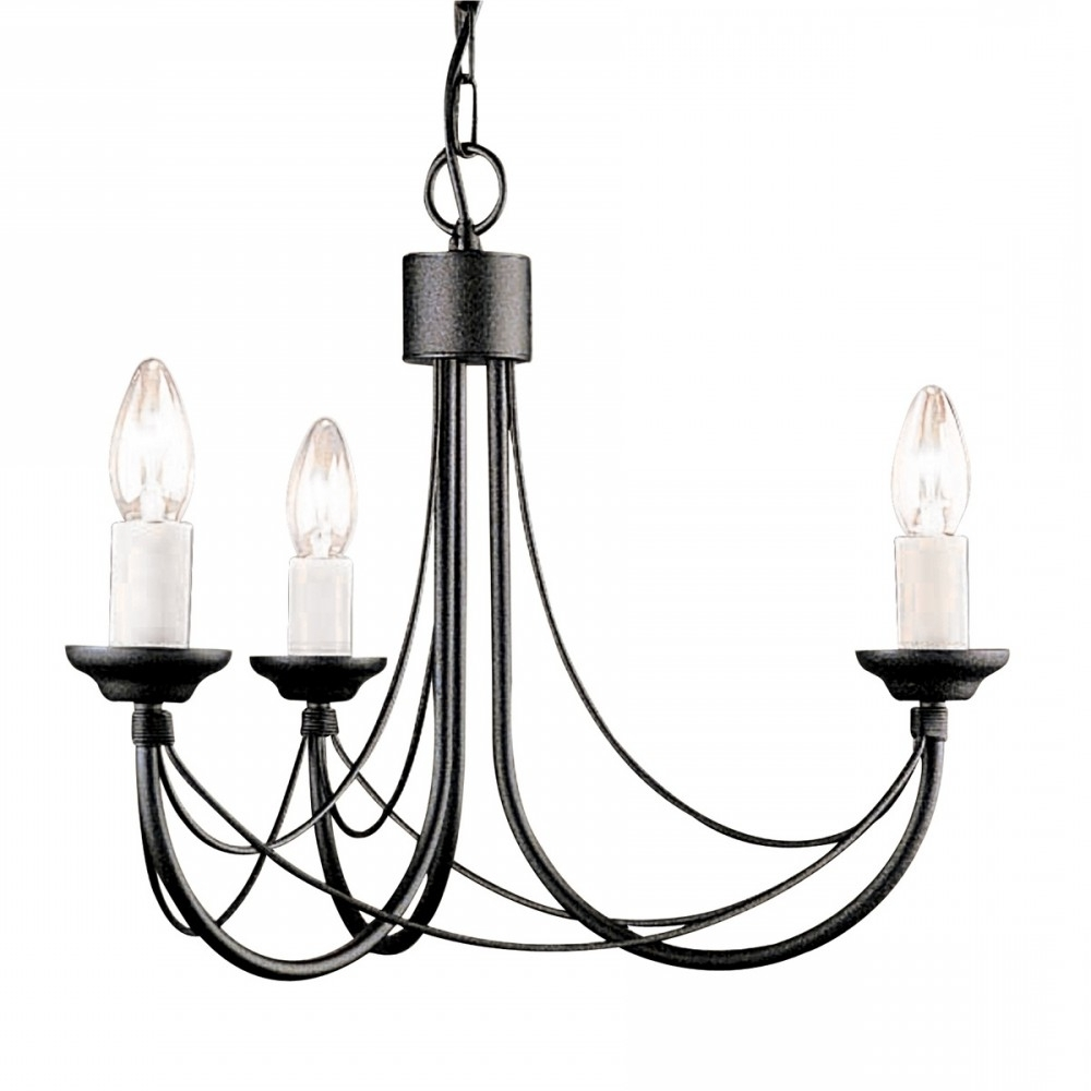 Most Recently Released Candelabra Style Gothic 3 Arm Chandelier In Black Cb3 Black Throughout Black Gothic Chandelier (View 16 of 20)