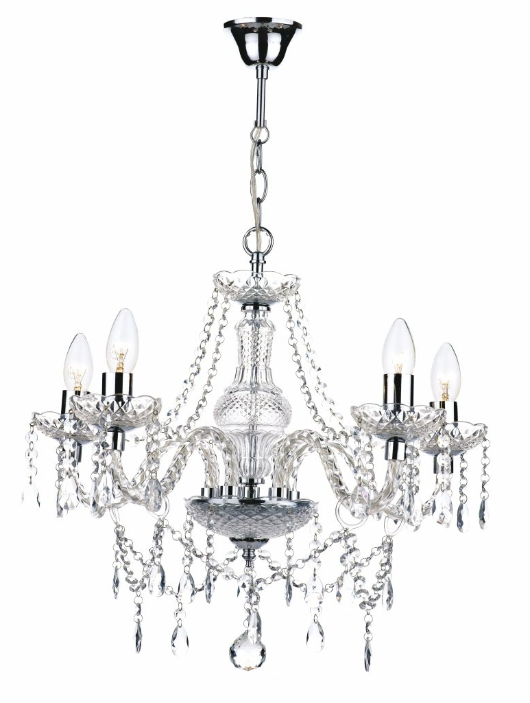 Most Recently Released Chandelier ~ 5 Light Polished Chrome Crystal Chandelier £205 Intended For Endon Lighting Chandeliers (View 16 of 20)