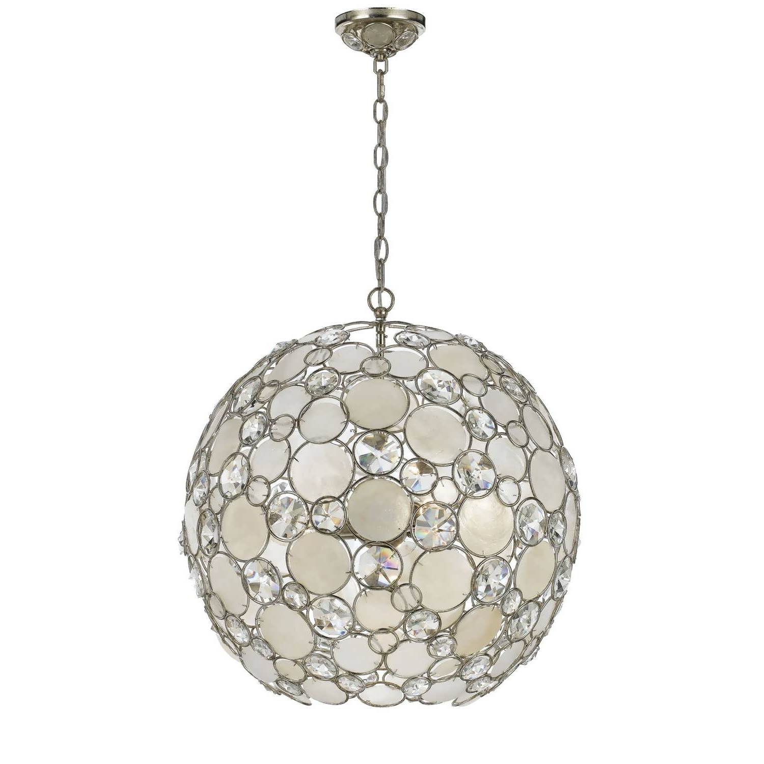 Most Recently Released Chandelier : Crystal Chandelier Brushed Nickel Orb Chandelier Wood For Metal Sphere Chandelier (View 10 of 20)