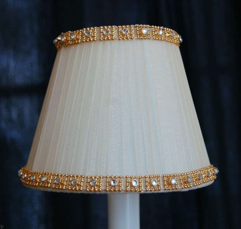 Most Recently Released Chandelier Lamp Shades Clip On Pertaining To Cream Fancy Gold Crystal Trim Chandelier Clip On Mini Shades Mini (View 7 of 20)