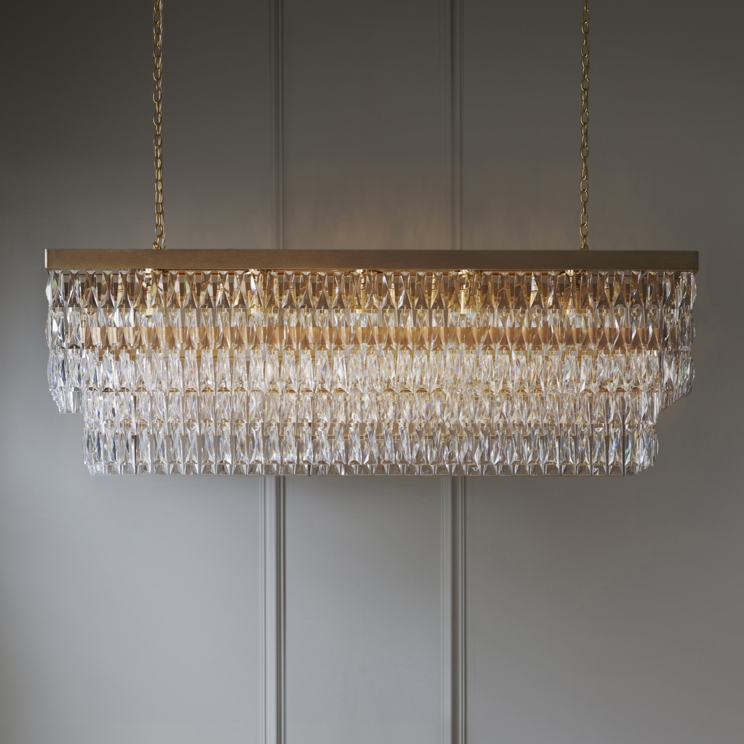 Most Recently Released Clear Crystal Rectangular Chandelier – Tigermoth Lighting Intended For Crystal Gold Chandeliers (View 10 of 20)