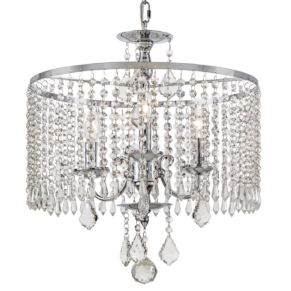 Most Recently Released Crystal Chrome Chandelier Throughout Home Decorators Collection 3 Light Polished Chrome Chandelier With (View 12 of 20)