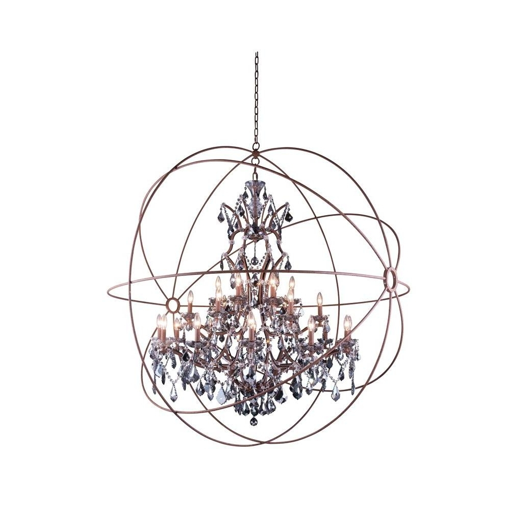 Most Recently Released Elegant Lighting Geneva 25 Light Rustic Intent Chandelier With In Grey Crystal Chandelier (View 15 of 20)