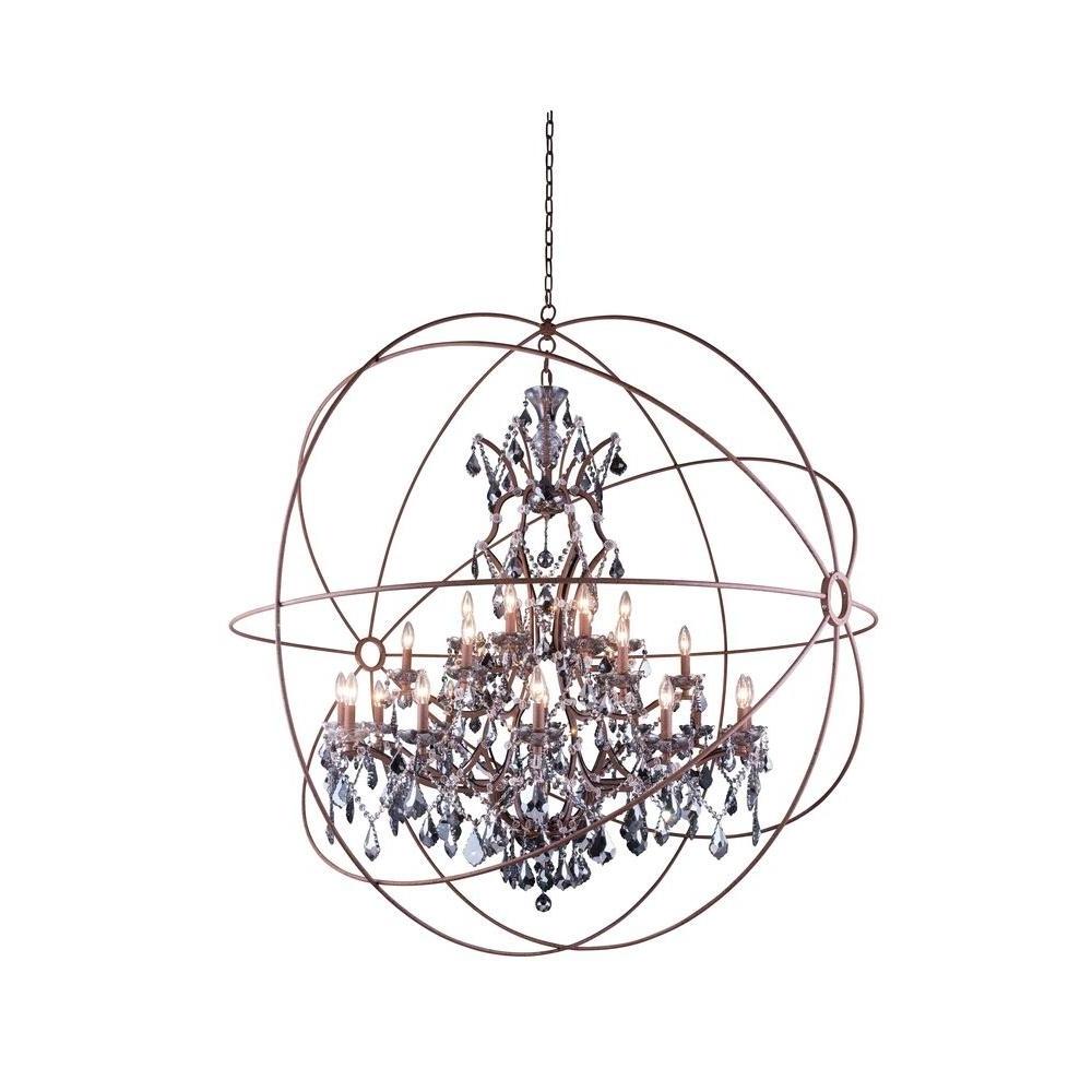 Most Recently Released Elegant Lighting Geneva 25 Light Rustic Intent Chandelier With In Grey Crystal Chandelier (View 16 of 20)