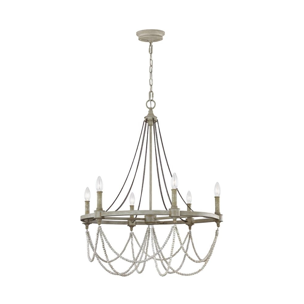 Most Recently Released Feiss Beverly 6 Light French Washed Oak / Distressed White Wood With French Wooden Chandelier (View 14 of 20)