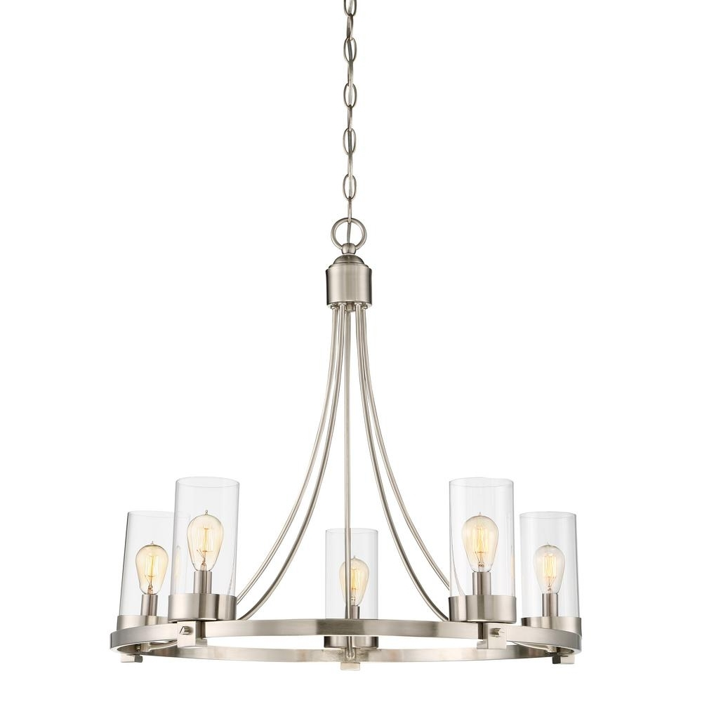 Most Recently Released Filament Design 5 Light Brushed Nickel Chandelier With Clear Glass Inside Clear Glass Chandeliers (Gallery 7 of 20)