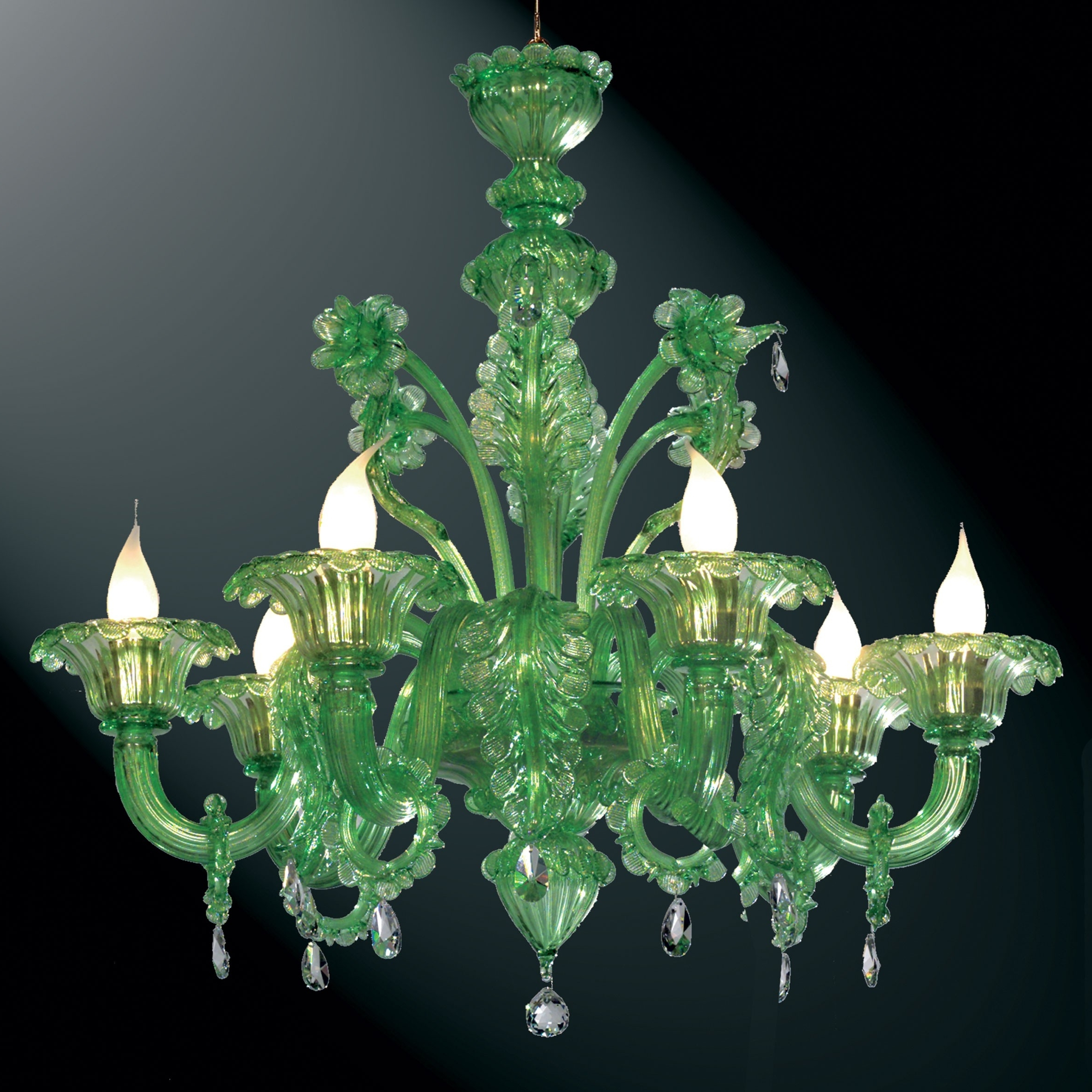 "Most Recently Released Glass Chandeliers Within Giada"" Green Murano Glass Chandelier – Murano Glass Chandeliers (View 13 of 20)"