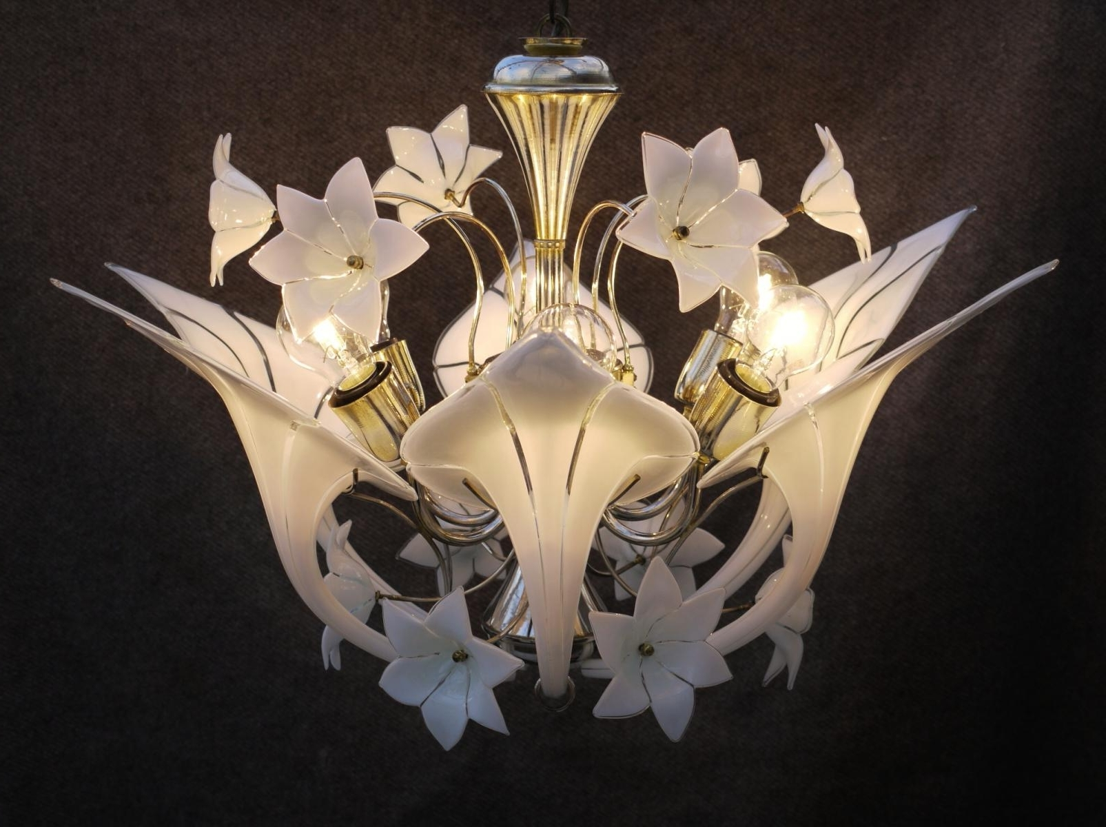Most Recently Released Italian Canna Lily Chandeliermurano For Sale At Pamono With Lily Chandeliers (View 16 of 20)