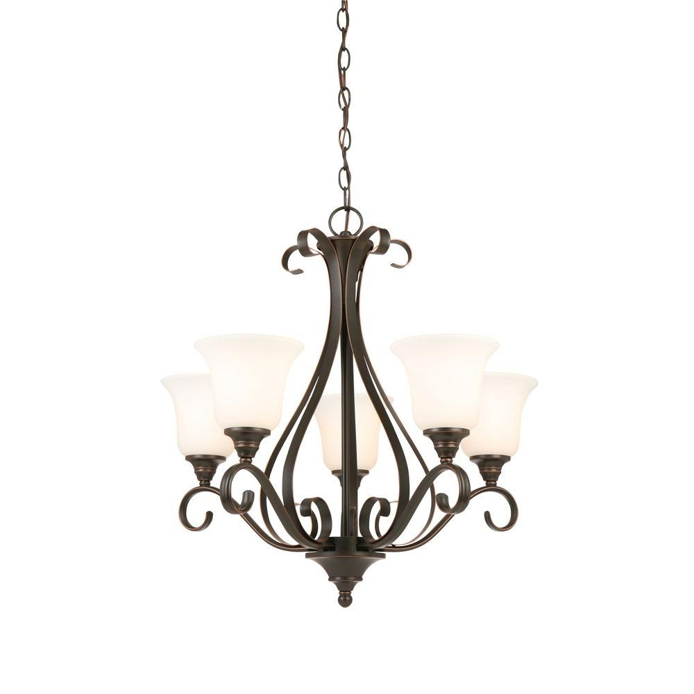 Most Recently Released Light Fitting Chandeliers Regarding Hampton Bay 5 Light Oil Rubbed Bronze Chandelier With Frosted White (View 15 of 20)
