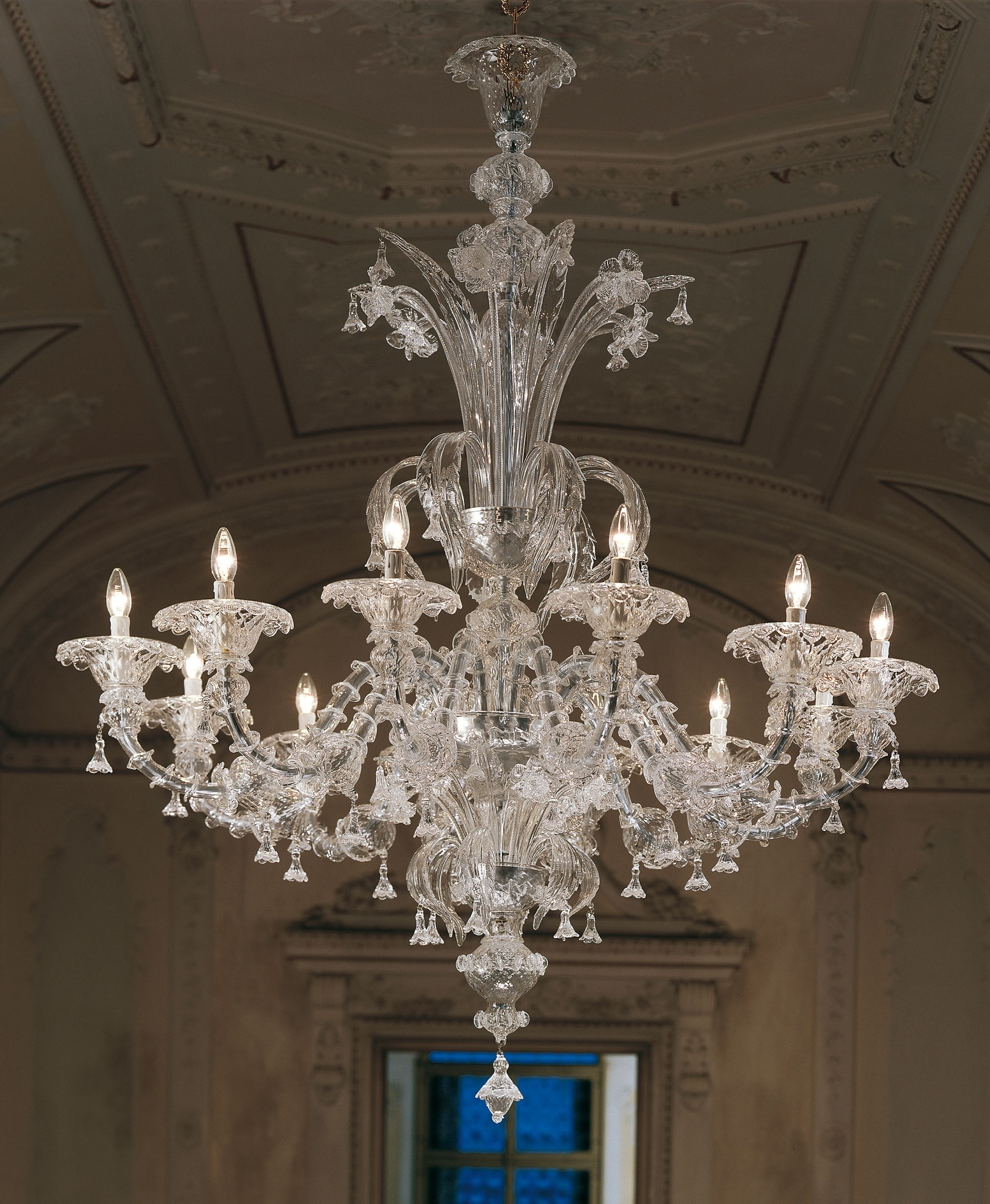 Most Recently Released Murano Chandelier Regarding Large Clear Rezzonico Murano Chandelier L7099k (View 2 of 20)