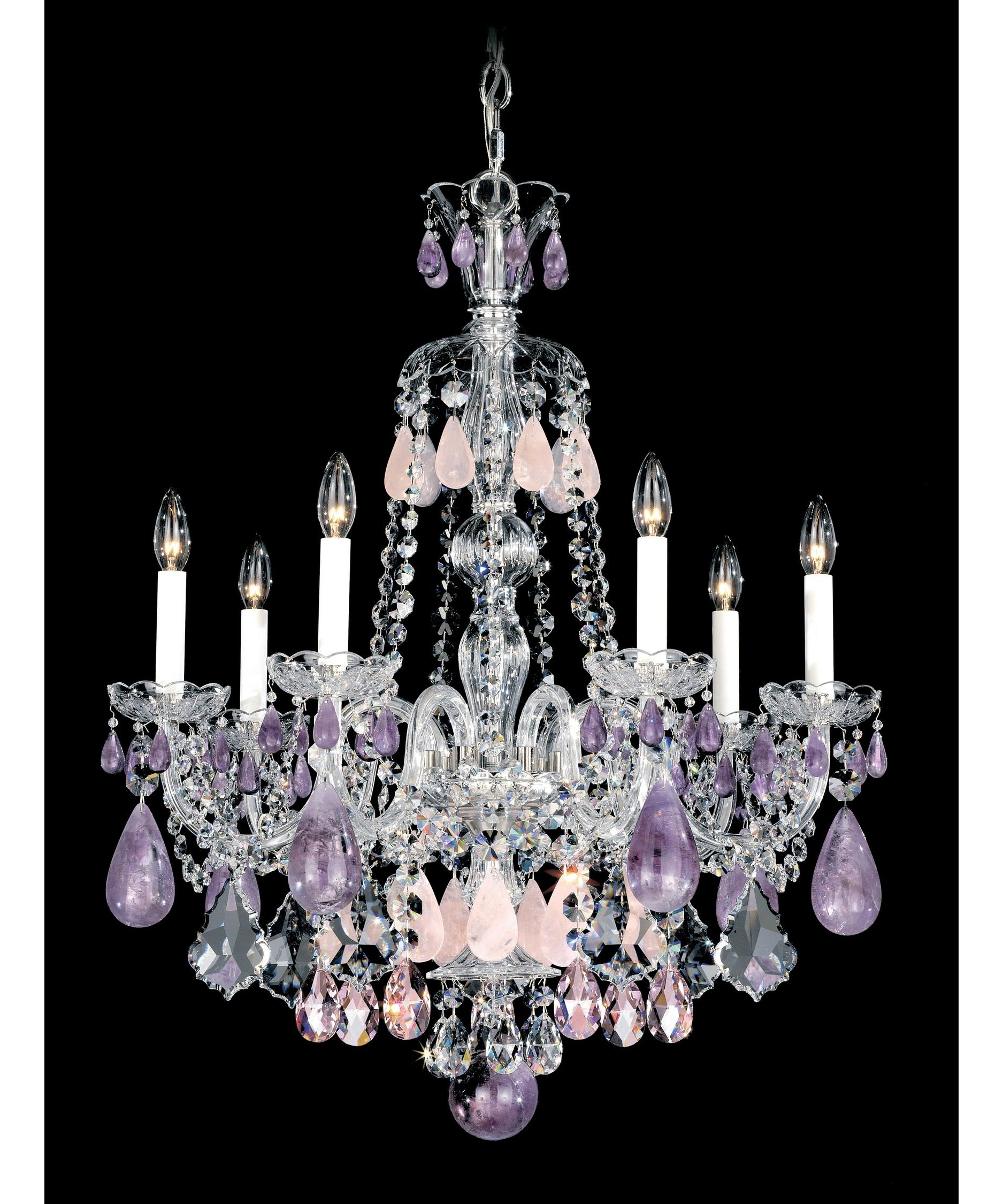 Most Recently Released Purple Crystal Chandelier Lights With Regard To Schonbek 5536 Hamilton Rock Crystal 24 Inch Wide 7 Light Chandelier (View 12 of 20)