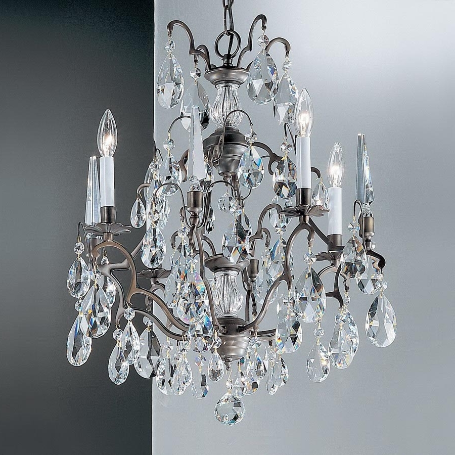 Most Recently Released Shop Classic Lighting Versailles 4 Light Antique Bronze Crystal With Bronze And Crystal Chandeliers (View 15 of 20)