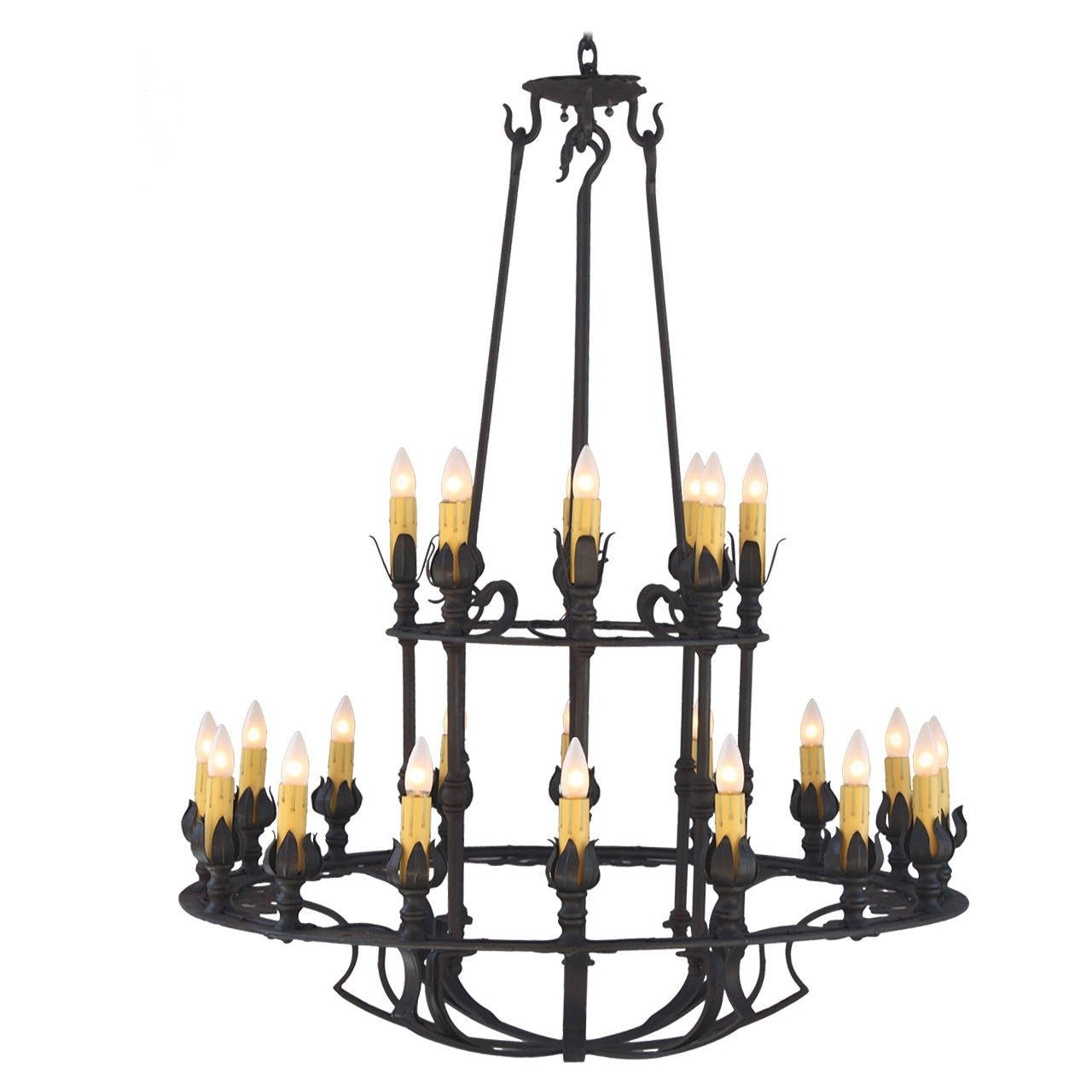 Most Recently Released Two Tier Wrought Iron Chandelier For Sale At 1Stdibs For Iron Chandelier (View 14 of 20)
