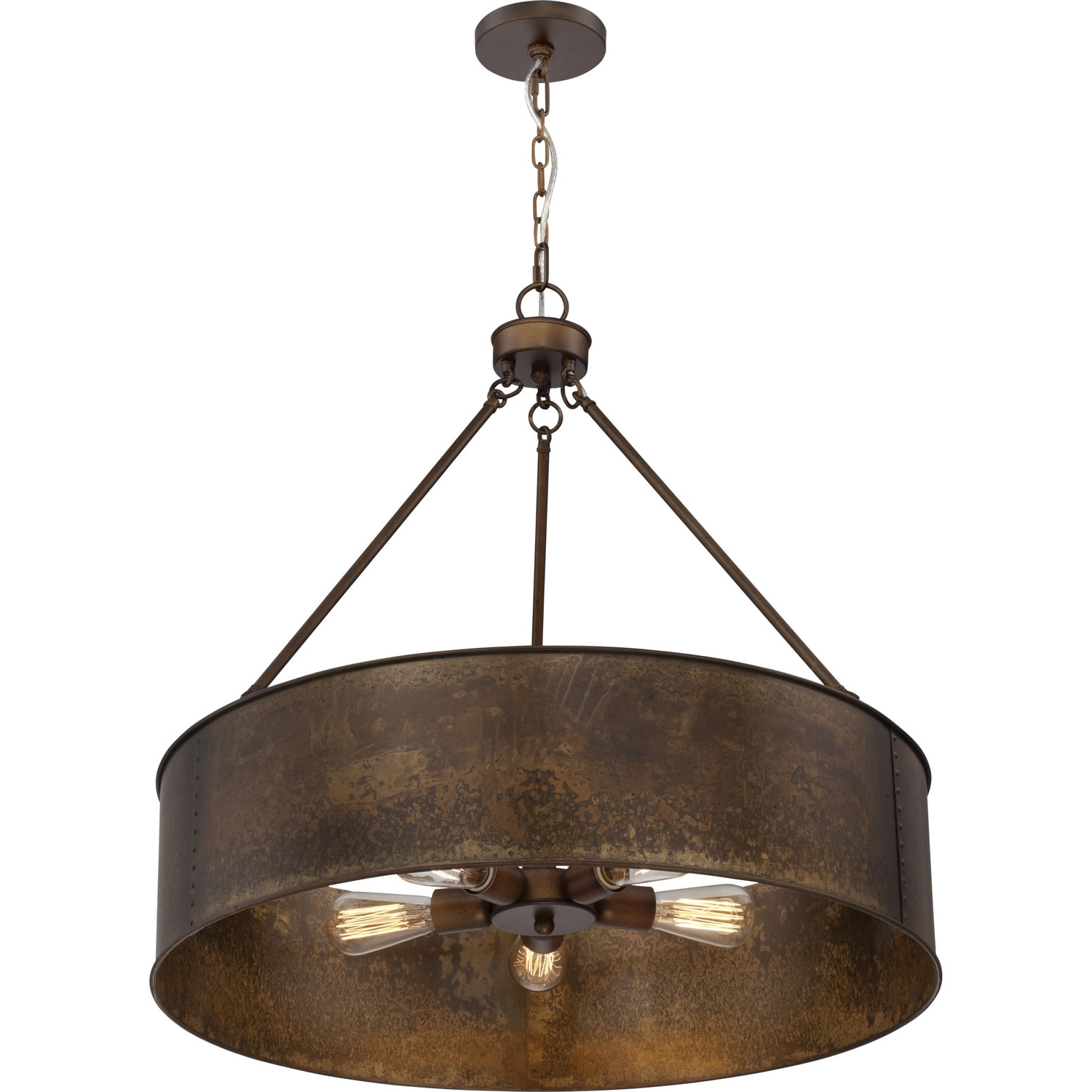 Most Up To Date 251 First River Station Weathered Brass Five Light Industrial Drum Regarding Metal Drum Chandeliers (View 17 of 20)