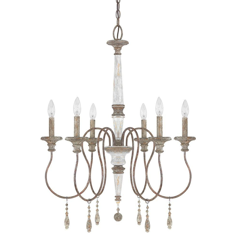 Most Up To Date Antique Looking Chandeliers Within 6 Light French Antique Chandelier 9A194A – The Home Depot (View 17 of 20)