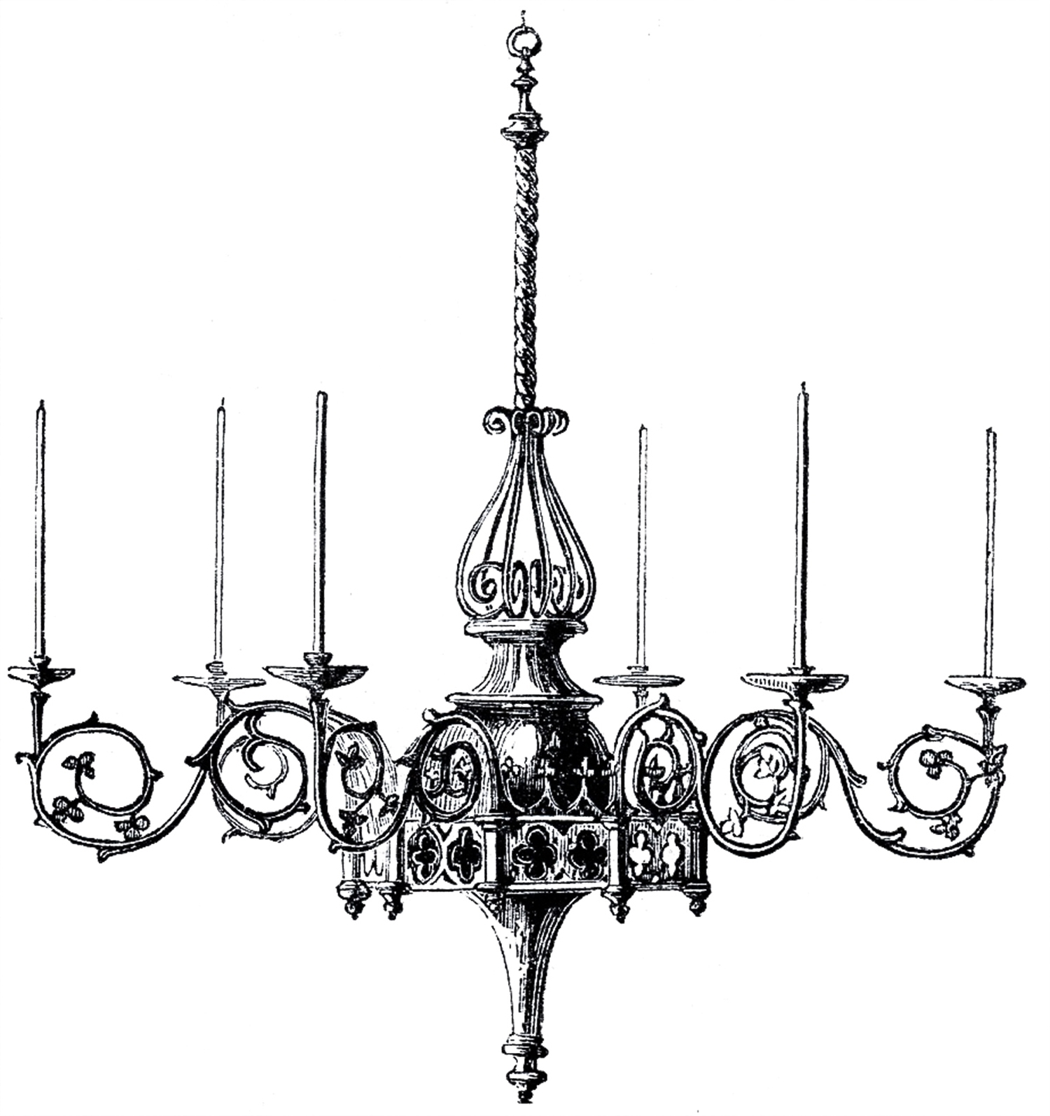 Most Up To Date Black Gothic Chandelier Regarding Vintage Gothic Chandelier Image – The Graphics Fairy (View 17 of 20)