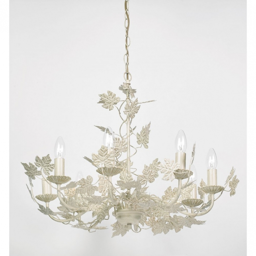 Most Up To Date Chandelier ~ 91178 8 Light Pendant In A Classic Leaf Design In Gold Intended For Cream Chandelier Lights (View 14 of 20)