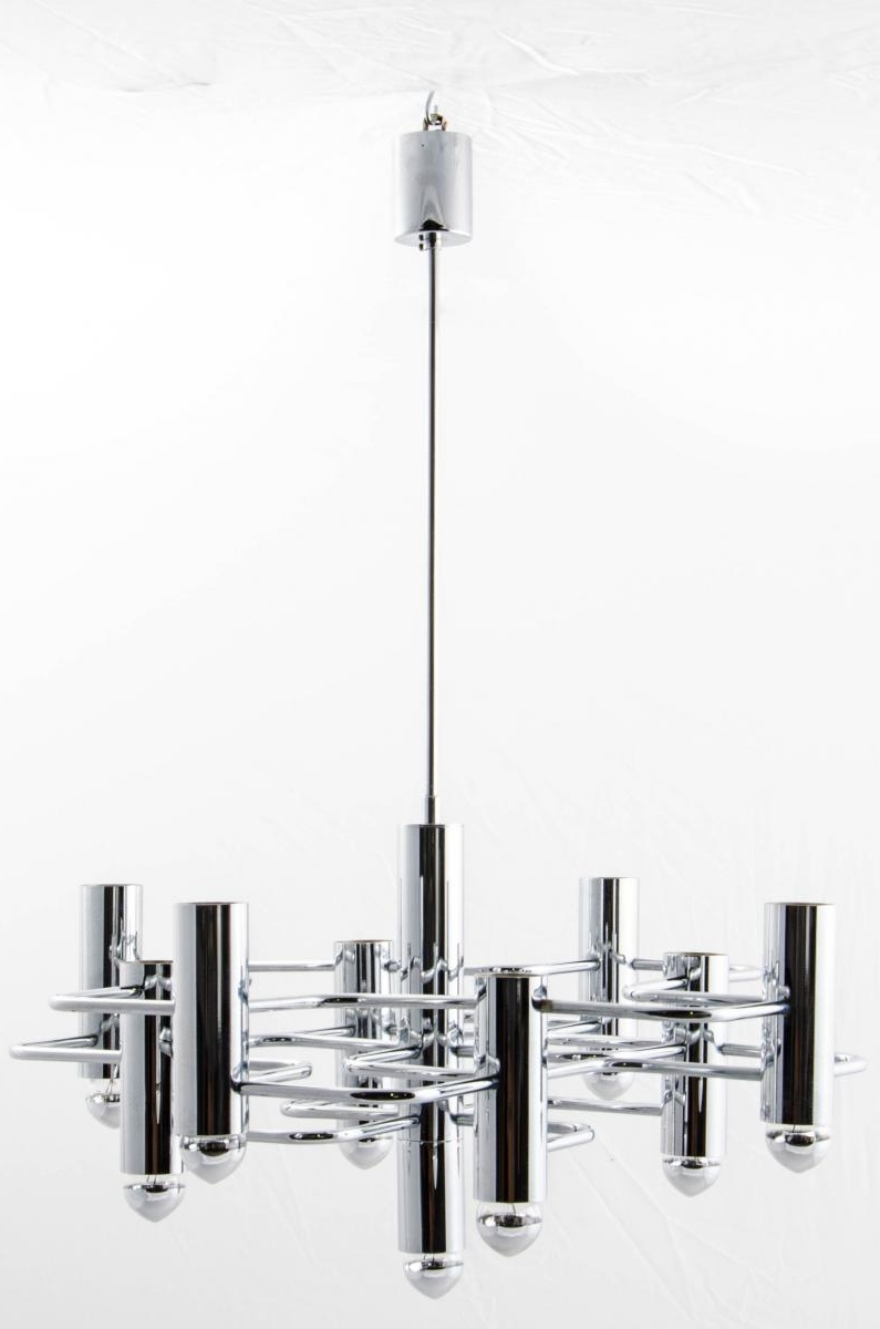 Most Up To Date Chandelier Chrome Intended For Vintage Geometrical Chrome Chandeliergaetano Sciolari For Sa (View 6 of 20)
