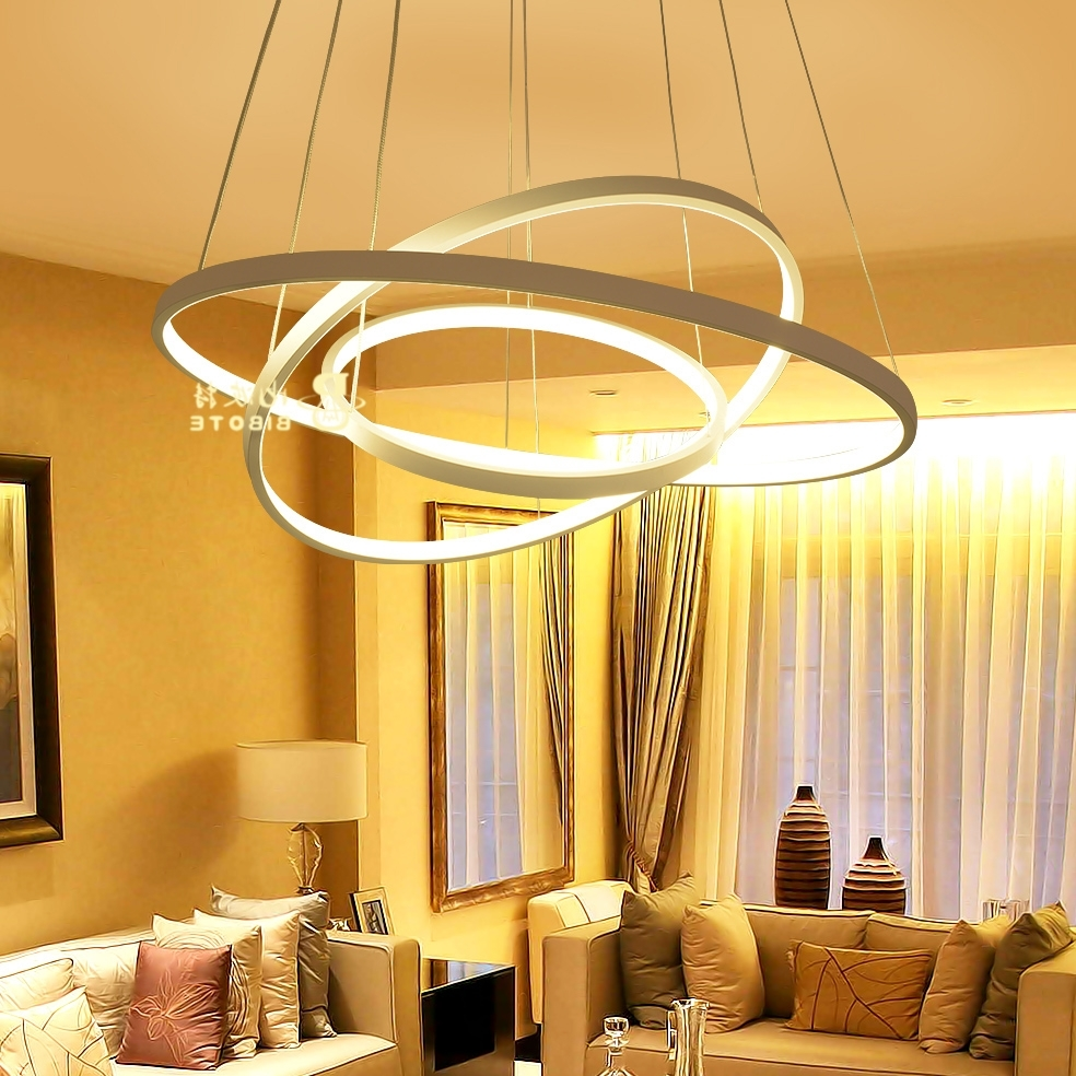 Most Up To Date Chandelier Lights For Living Room Inside Modern Acrylic Chandelier Led Circle Rings Hanging Pendant (View 15 of 20)