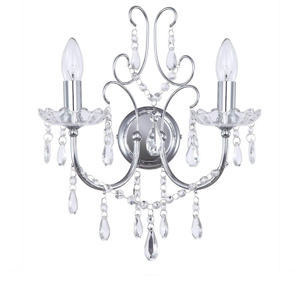 Most Up To Date Chrome Wall Lights Madonna 2 Light From Litecraft With Regard To Chandelier Wall Lights (View 16 of 20)