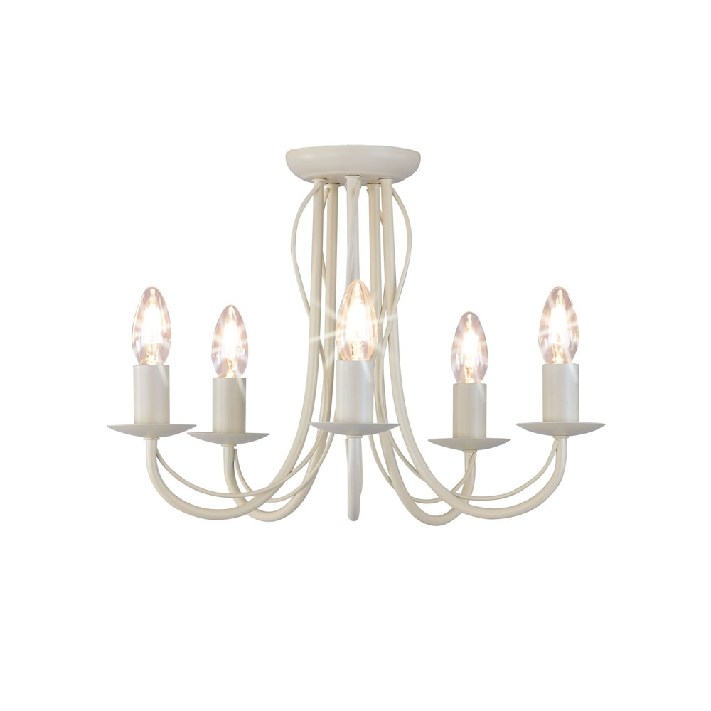 Most Up To Date Cream Chandelier Throughout Wilko 5 Arm Chandelier Metal Ceiling Light Fitting Cream At Wilko (View 13 of 20)