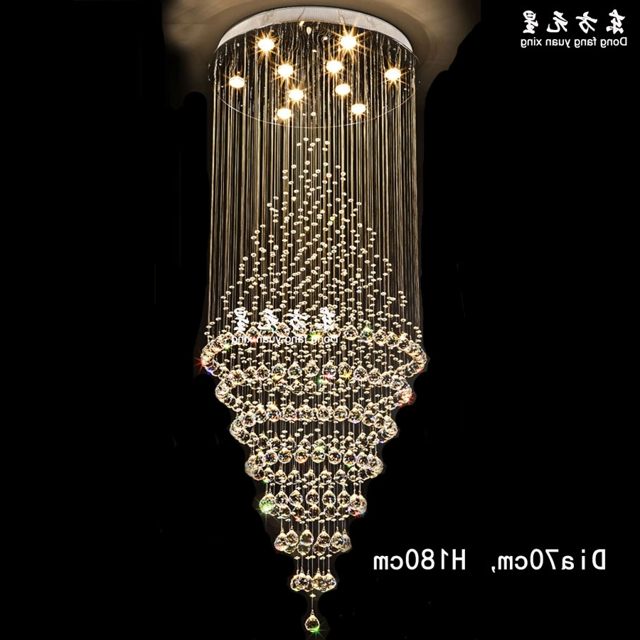 Most Up To Date Crystal Chandelier Led Lamp Stair Light Droplight Villa Double Entry Within Long Chandelier Lighting (View 16 of 20)