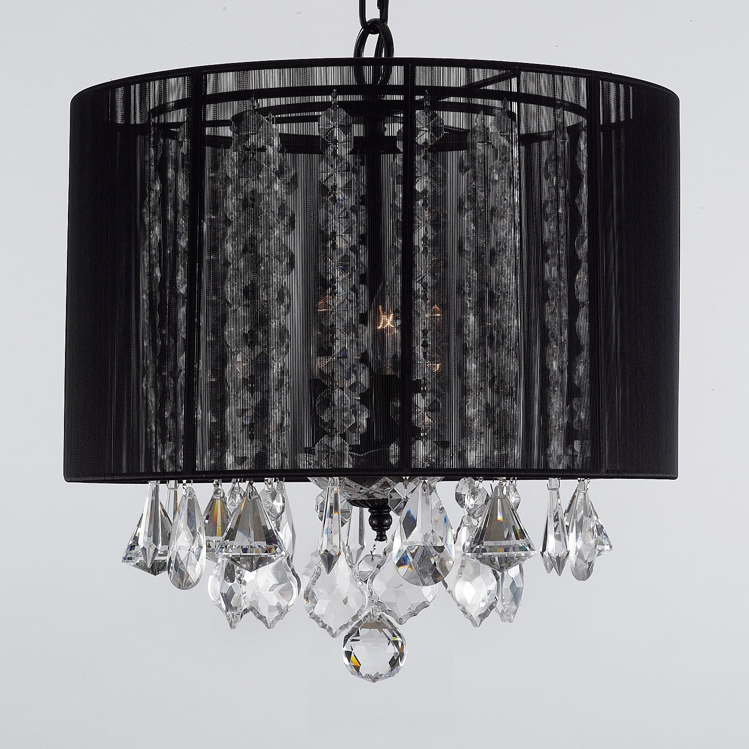 Most Up To Date G7 Black/604/3 Gallery Chandeliers With Shades Crystal Chandelier Throughout Large Black Chandelier (View 14 of 20)