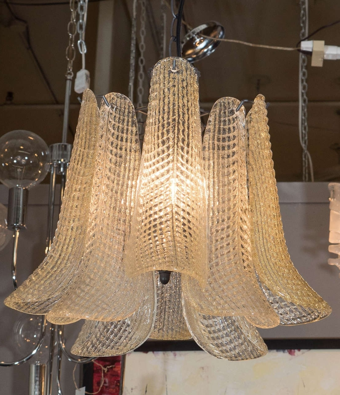 Most Up To Date Italian Chandelier Style Pertaining To 1970s Modern Style Italian Chandelier With Curved Murano Glass (View 2 of 20)